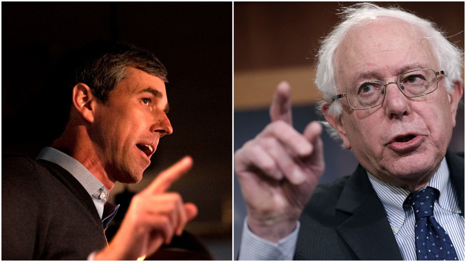 This is a two-way split screen between Bernie Sanders and Beto O'Rourke