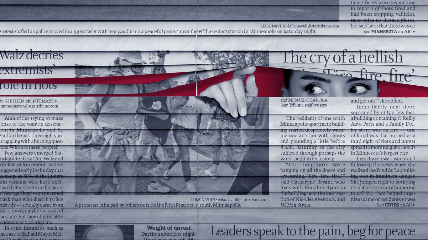Photo illustration of a woman looking suspiciously out blinds made out of newspaper