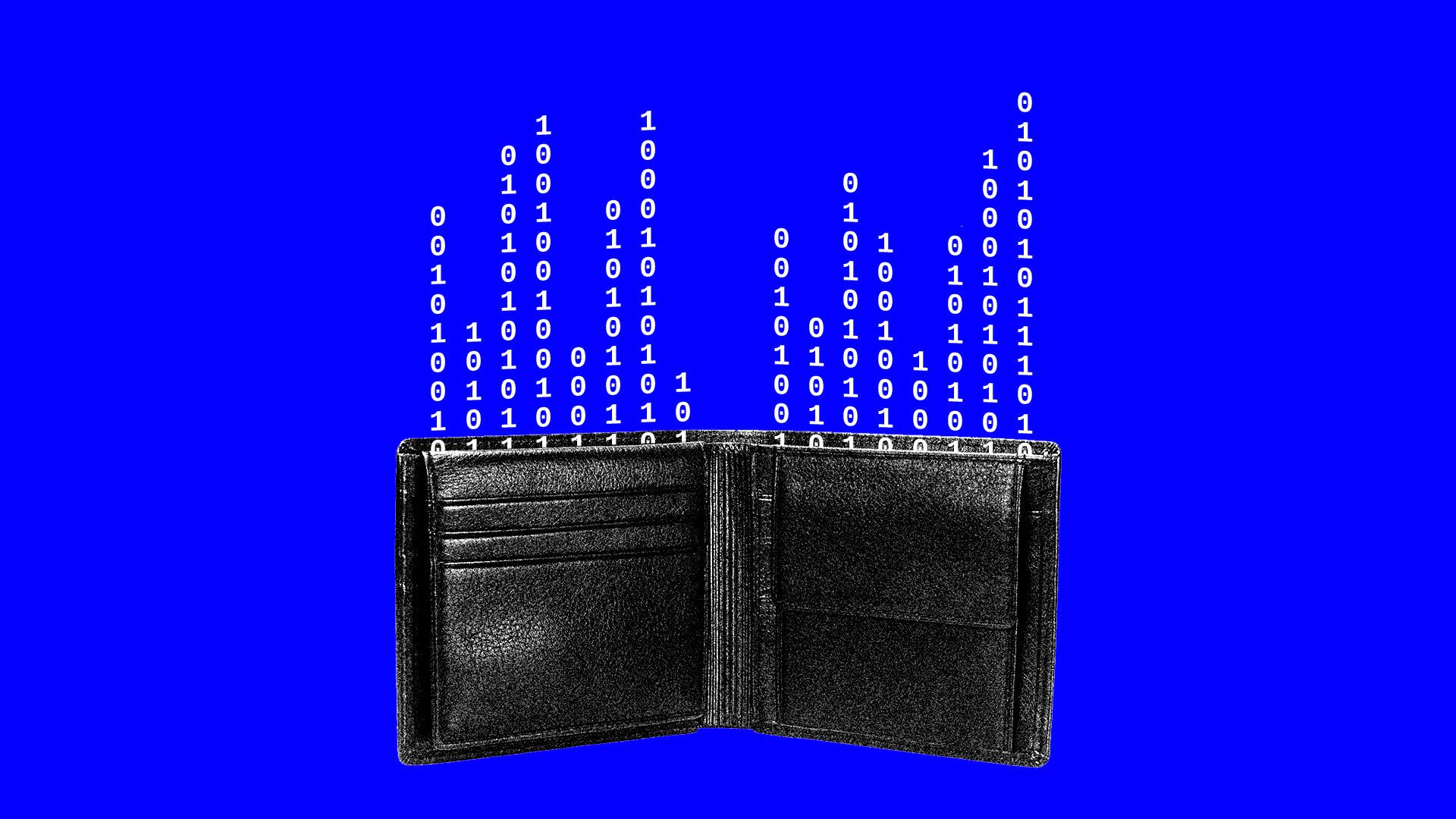 Wallet with numbers coming out of it.