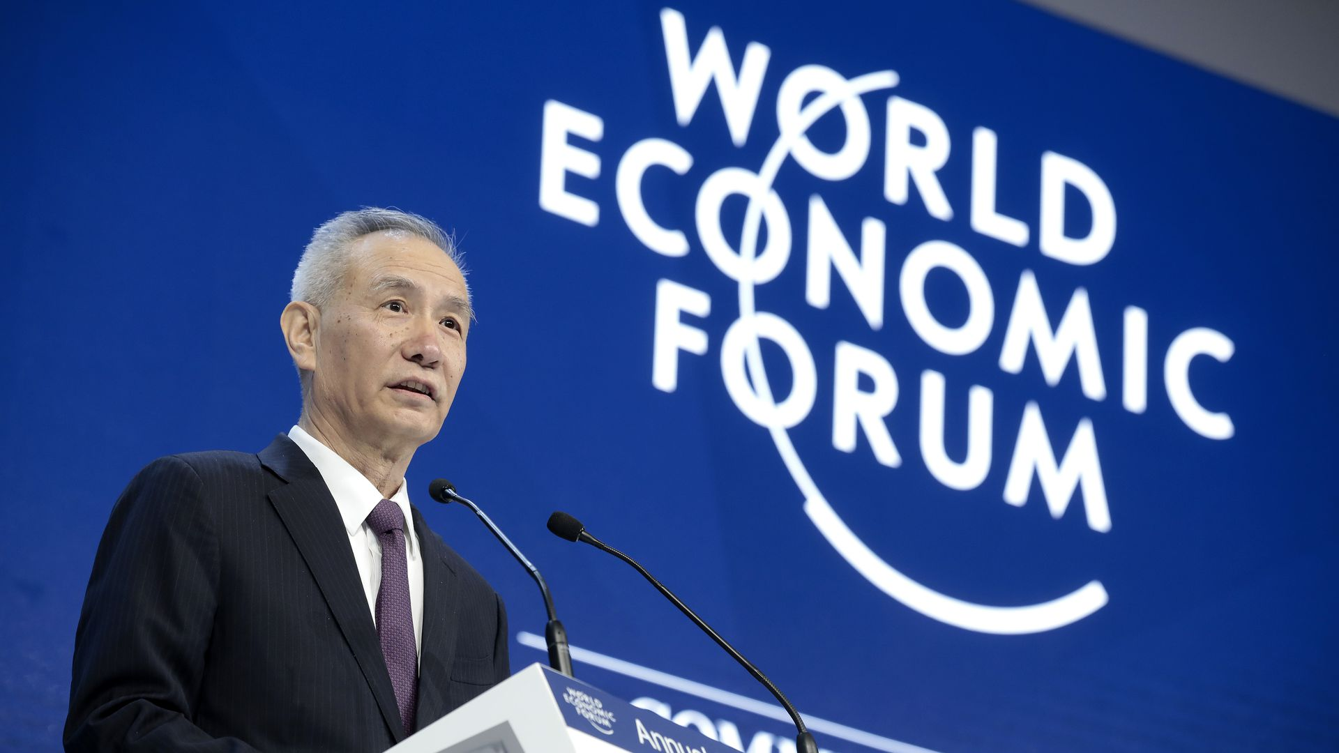 Liu He, director of the central leading group of the Communist Party of China, speaks during a special session on day two of the World Economic Forum