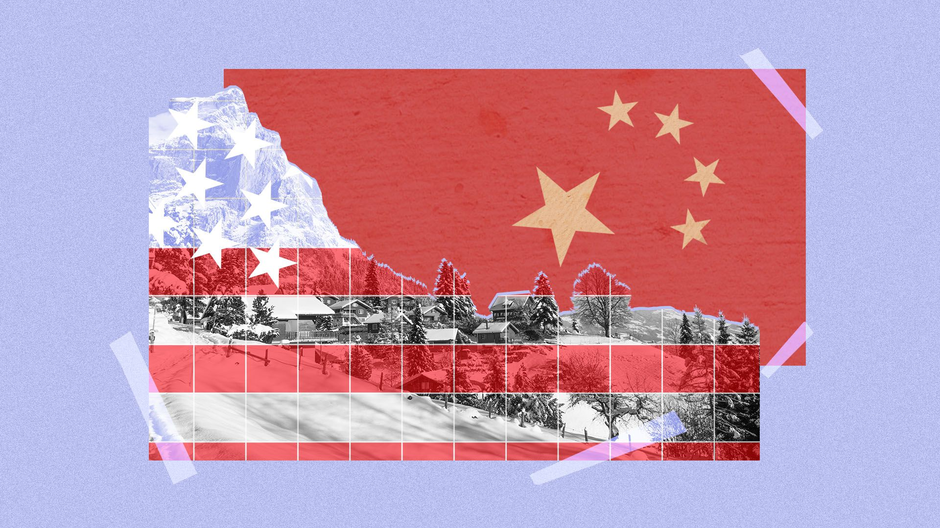 Illustration of the Swiss Alps, overlaid with elements of the American and Chinese flags