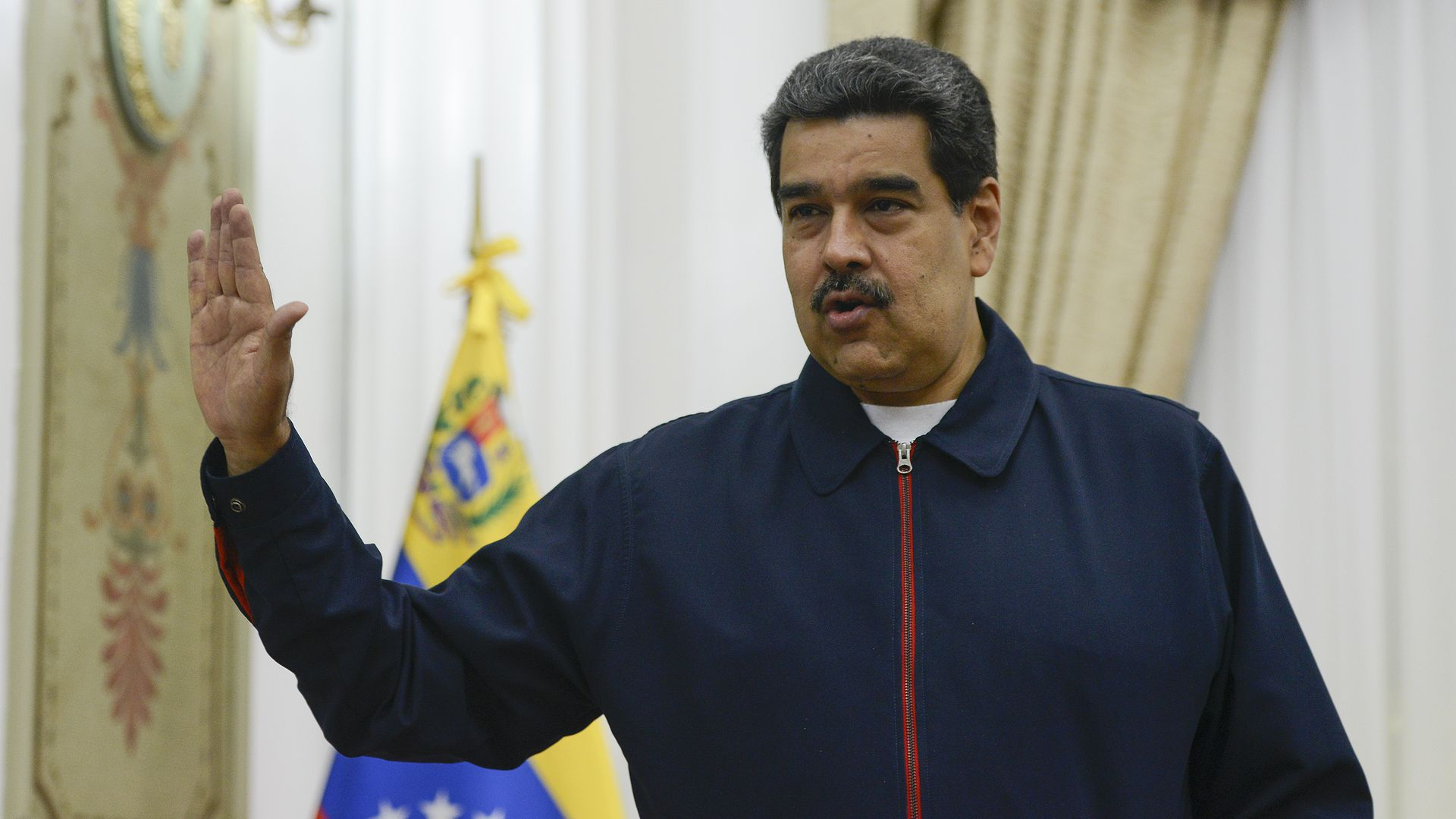 Nicolas Maduro (R) President of Venezuela speaks prior a meeting with EU special adviser for Venezuela