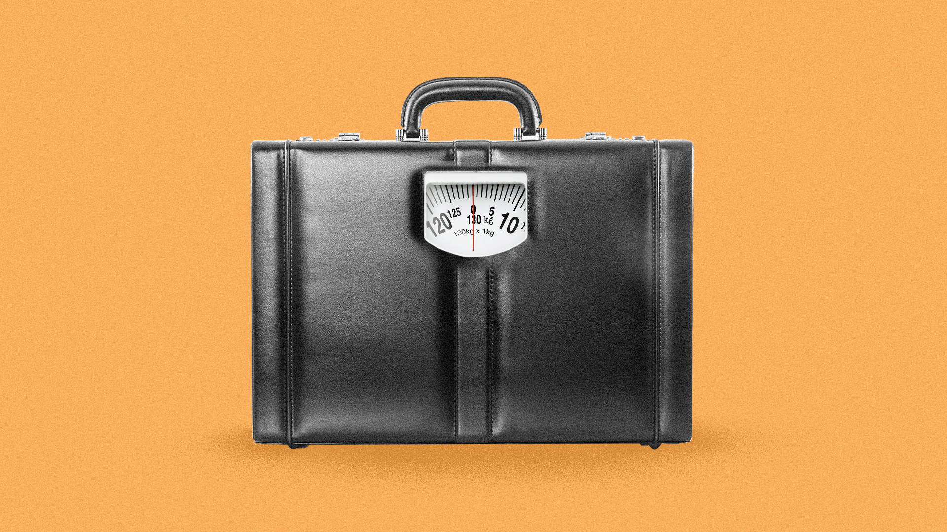 Illustration of a scale built into a leather briefcase.