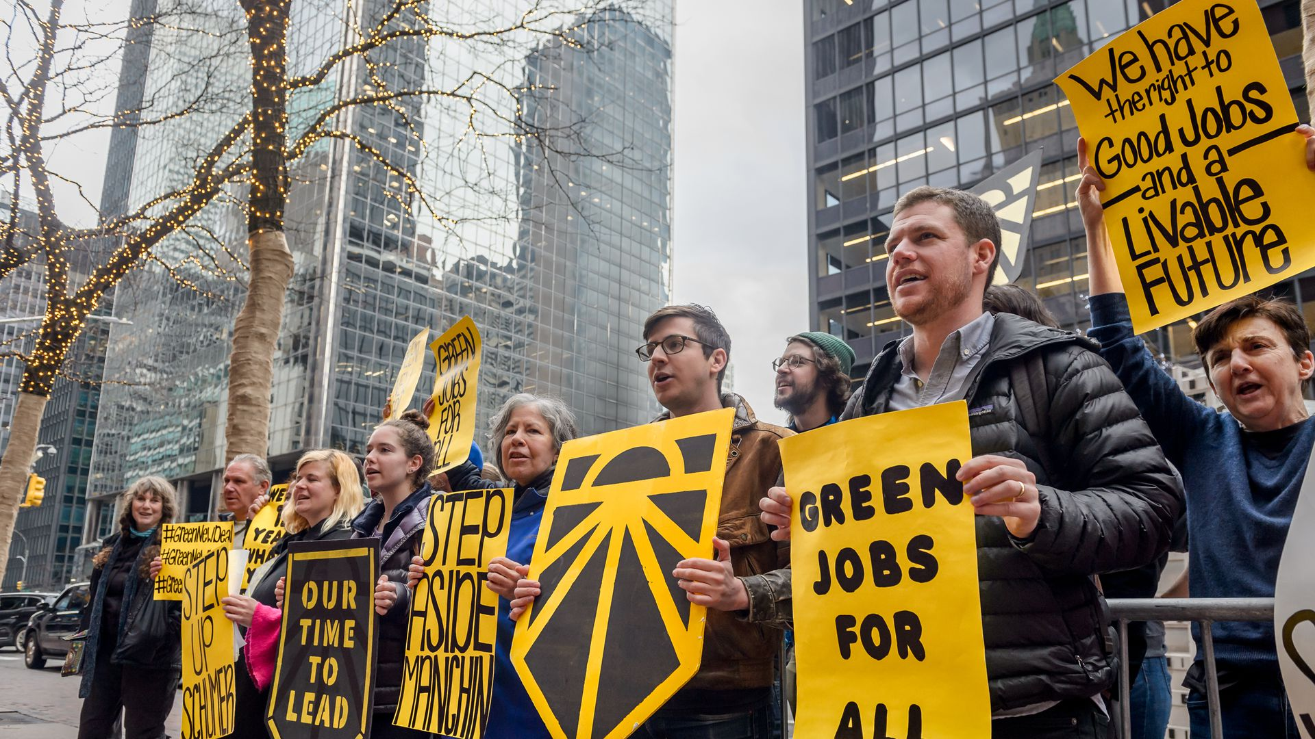 NYC youth, leaders representing hundreds of community, social justice, environmental and climate organizations demonstrate in favor of a Green New Deal