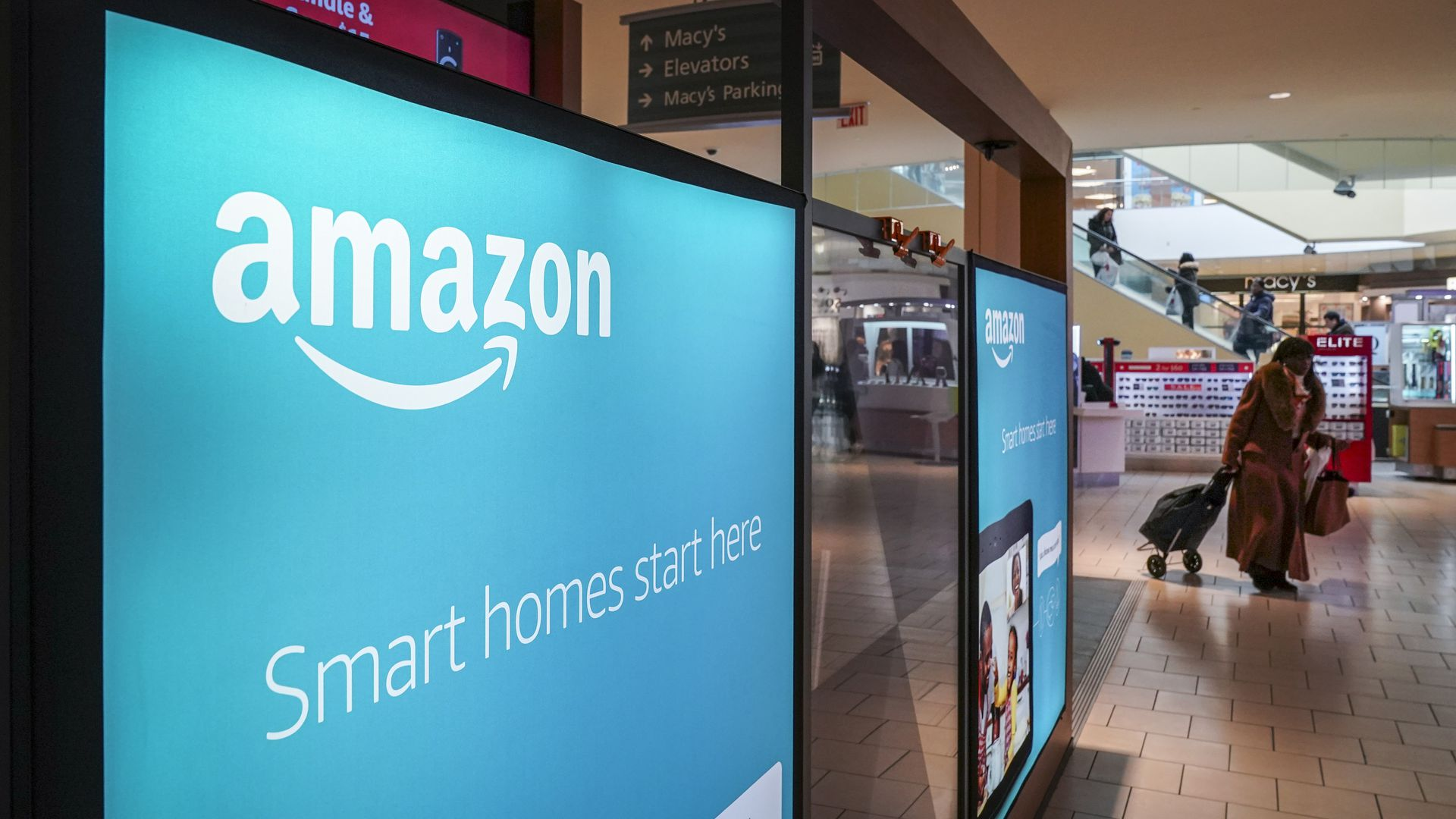 Amazon pop-up signs at the Queens Center Shopping Mall in New York