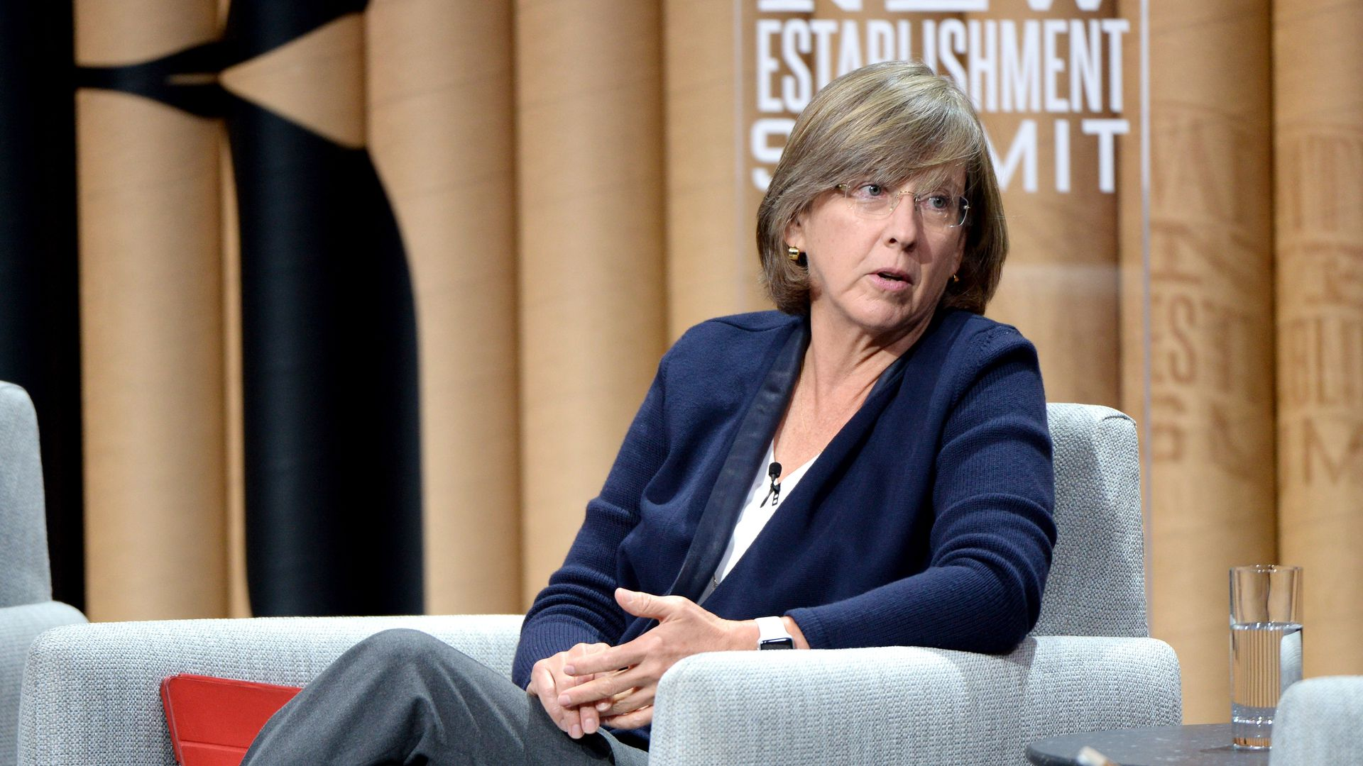 Mary Meeker speaking at a Vanity Fair conference.