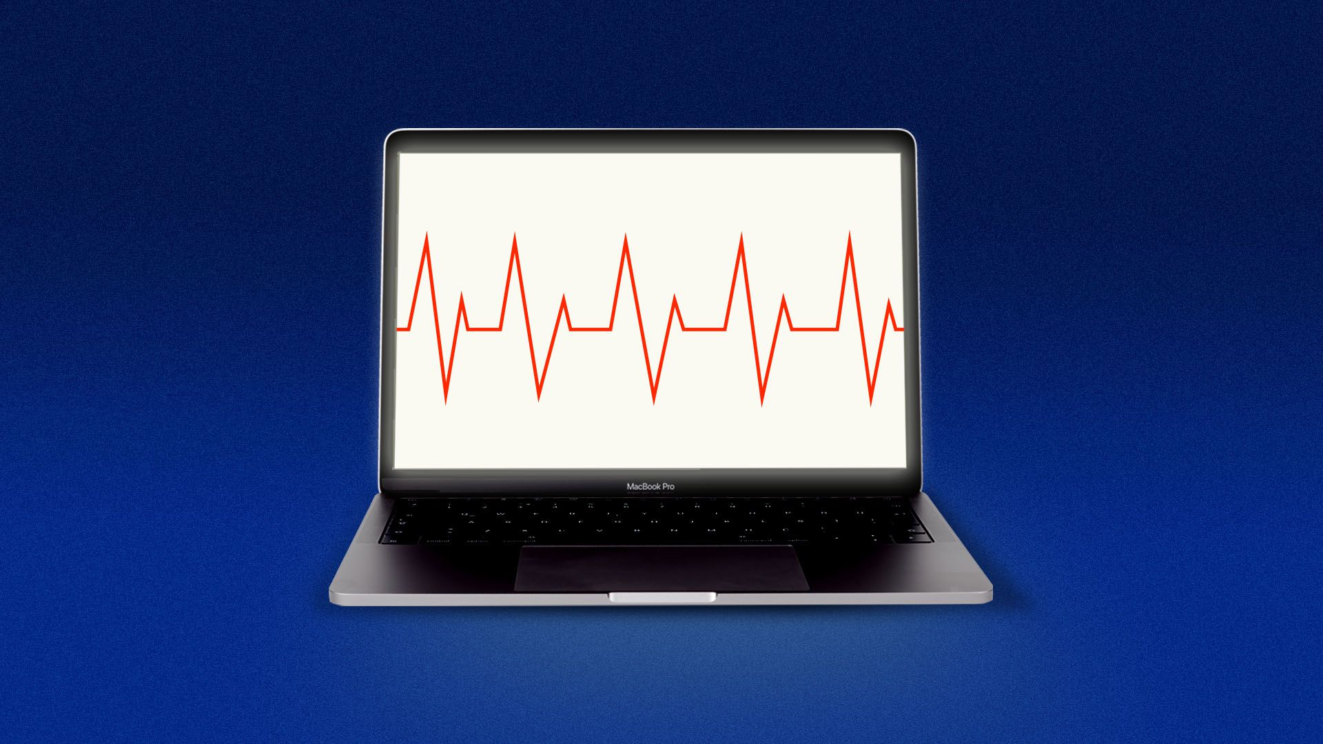 Illustration of an EKG monitor on a laptop screen
