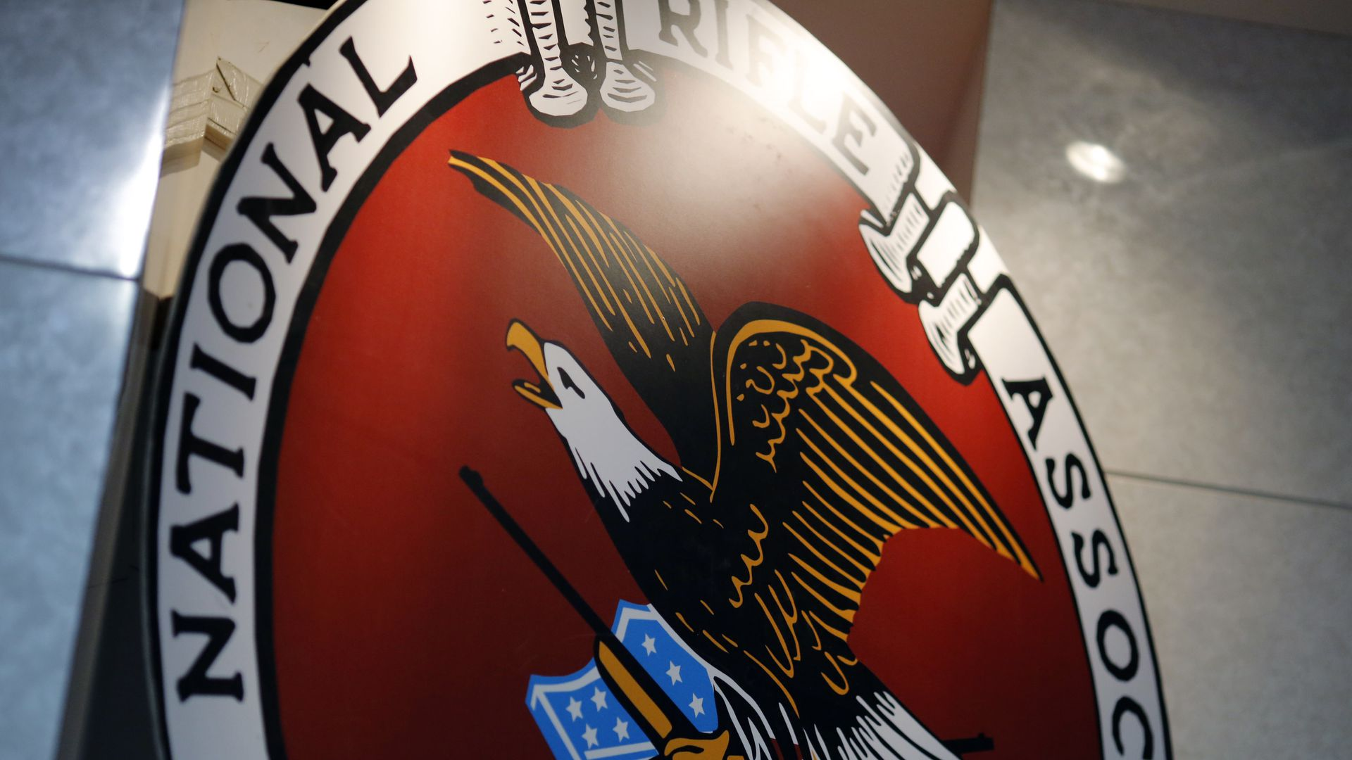 This is a close up of a large NRA logo.