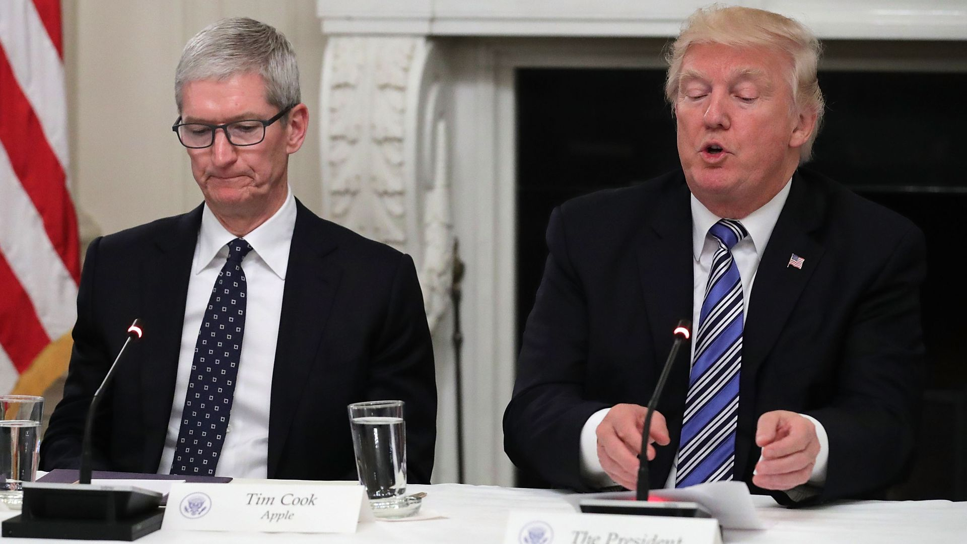 Tim Cook and Donald Trump during a 2017 White House meeting