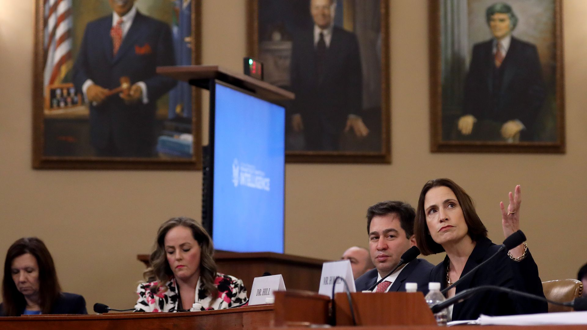 Fiona Hill testifies yesterday in the House Ways and Means Committee hearing room. Photo: Drew Angerer/Getty Images
