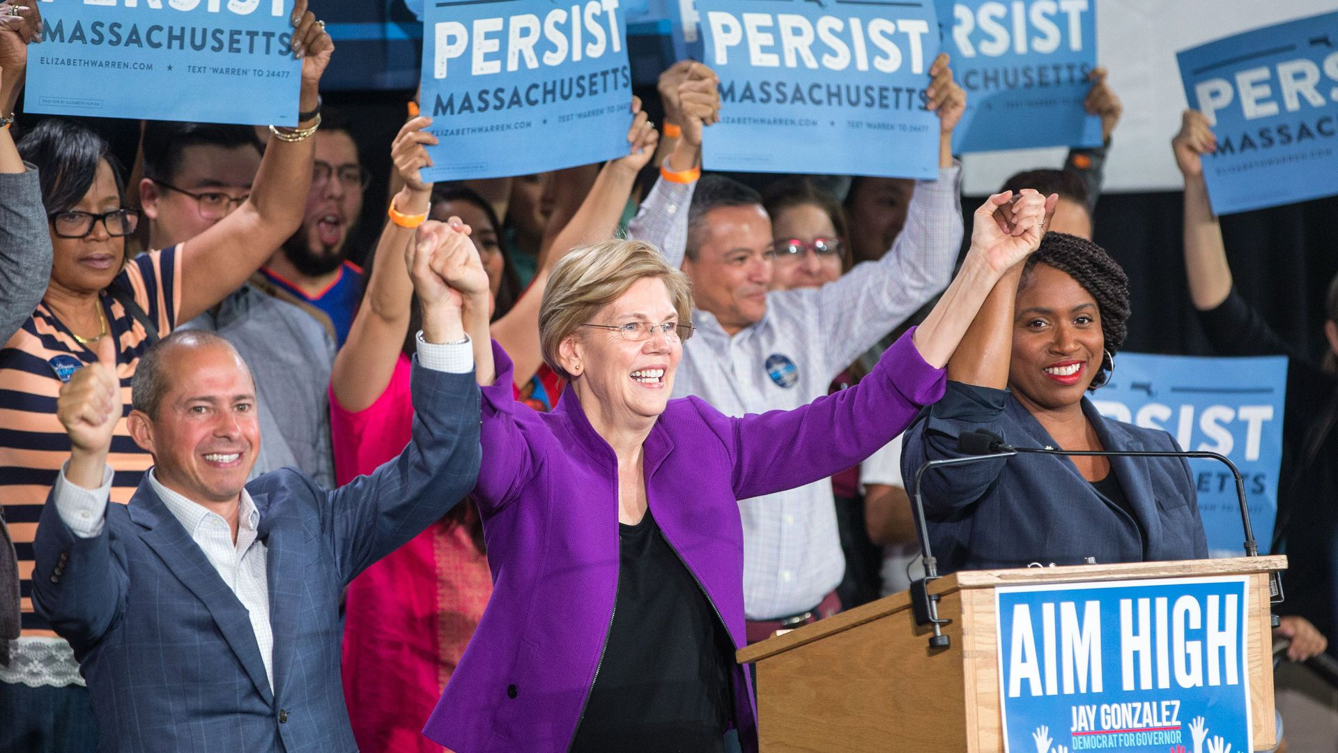Liz Warren at a campaign rally