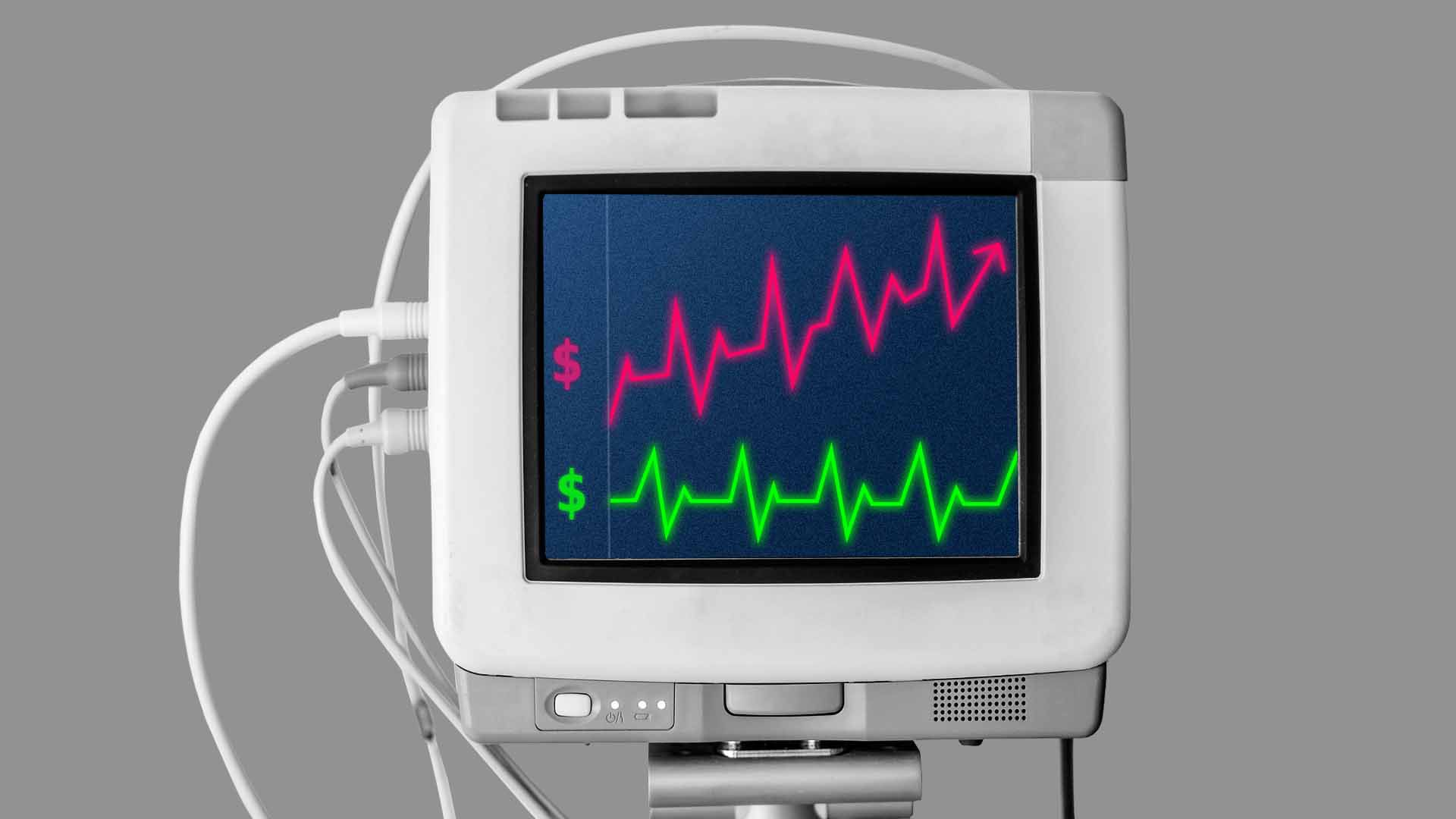 Illustration of heart monitor charting health care costs