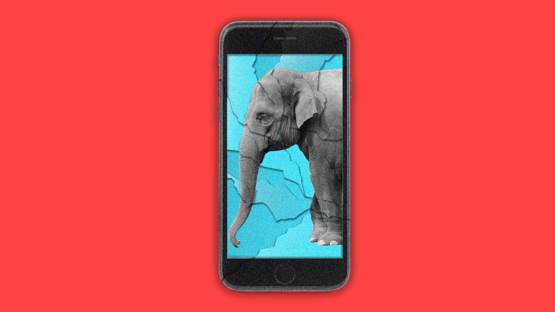 Smartphone with an elephant on the screen