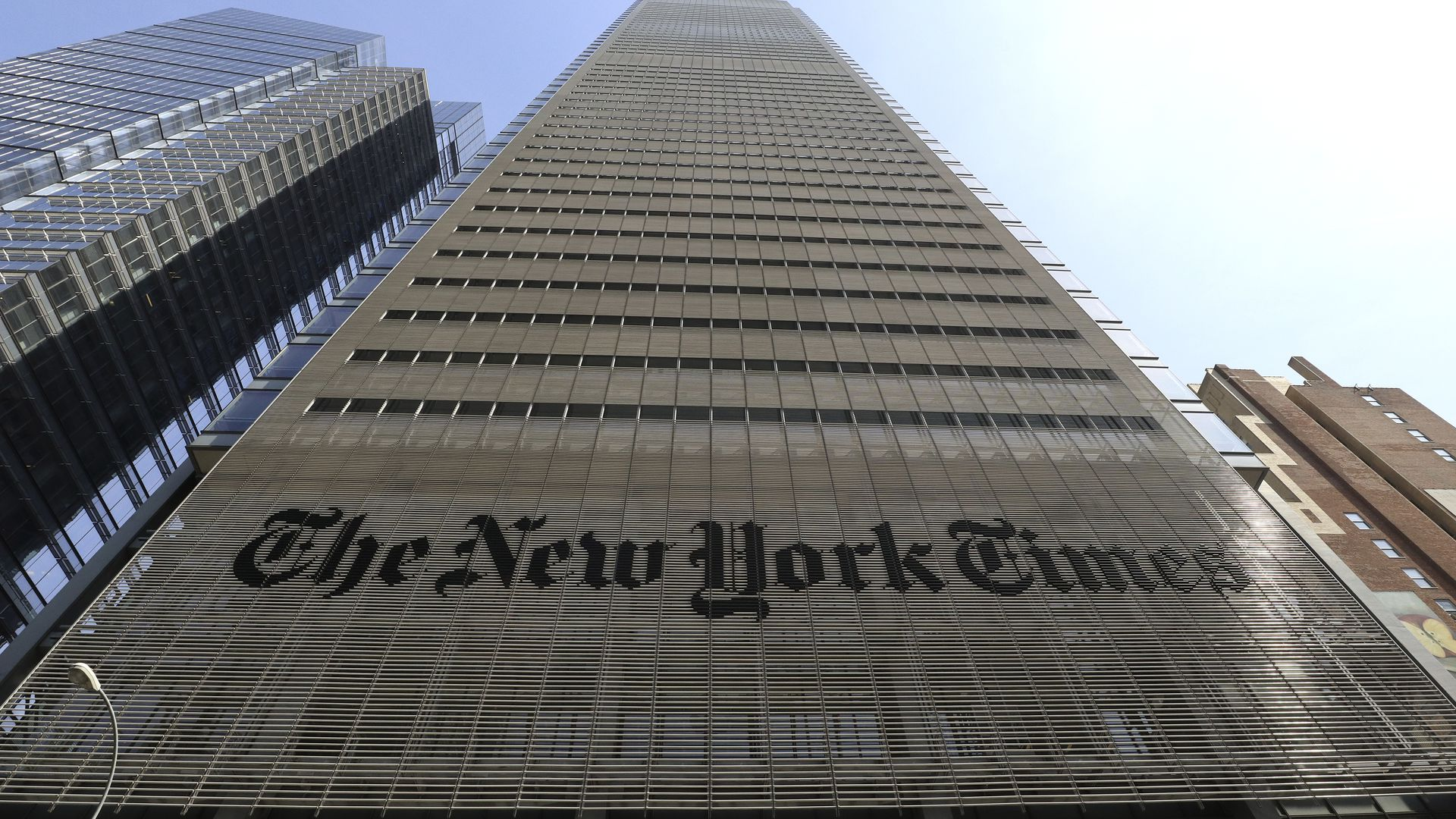 A photo of the NYT building
