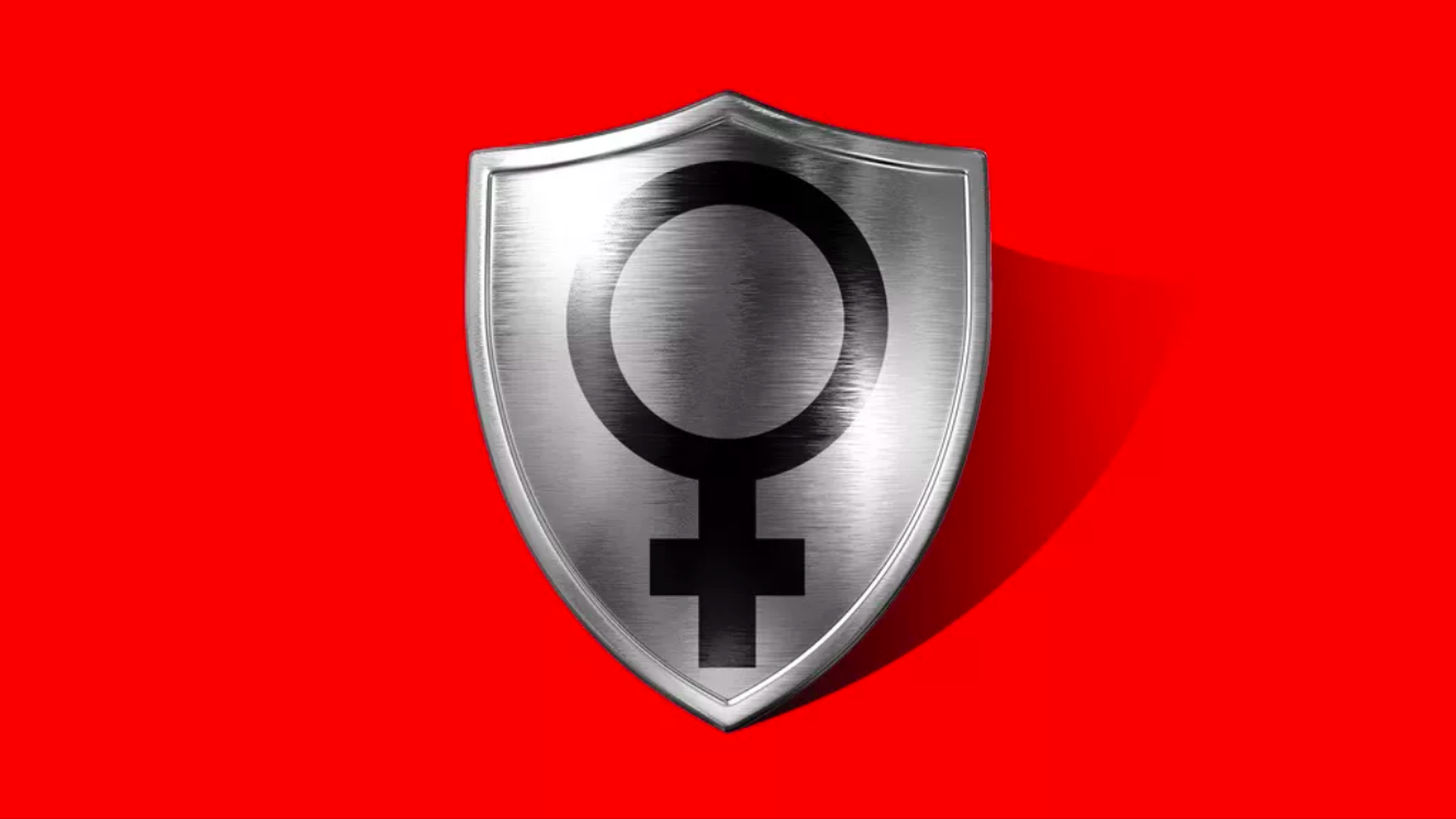 This illustration shows a metal shield emblazoned with the female symbol on a red background.