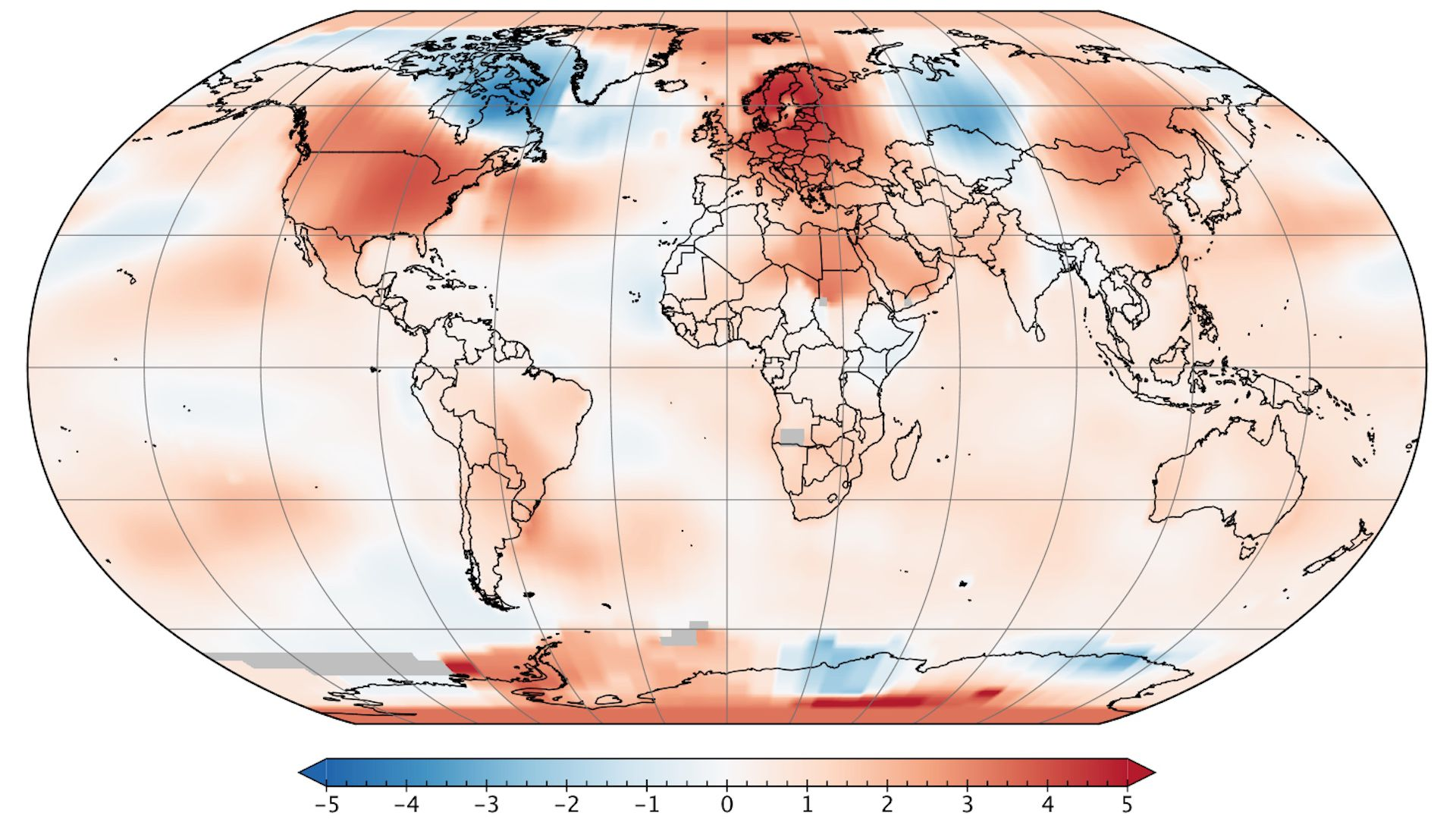 Map showing temperature anomalies during the month of May 2018.