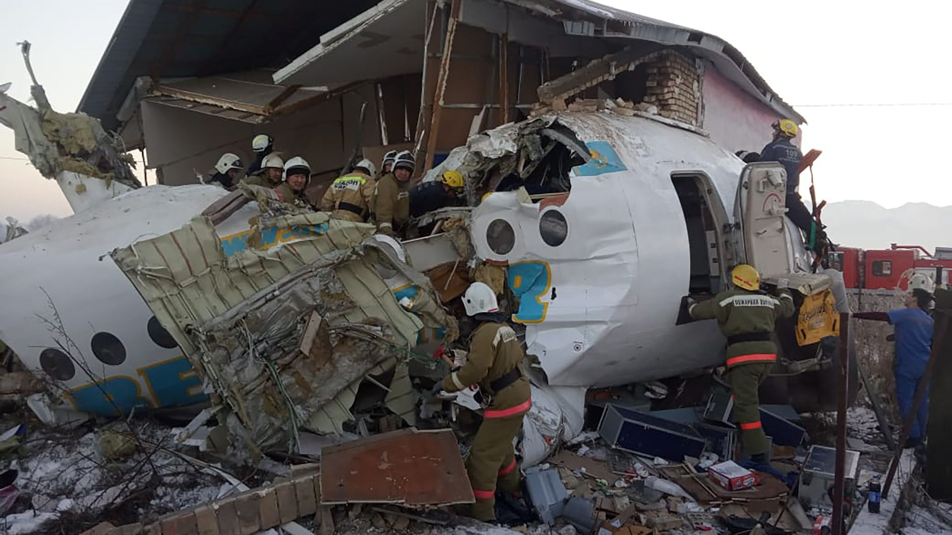 The site of a crash of a Bek Air plane in Kazakhstan