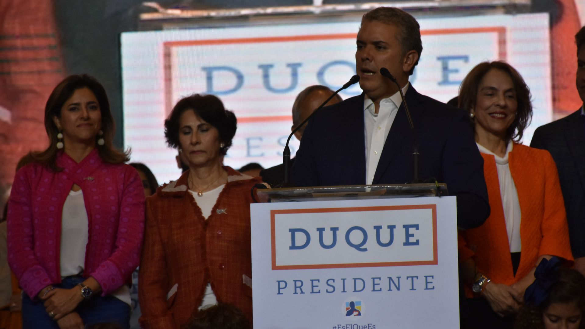 Presidential candidate Ivan Duque delivers a speech after his victory of the Presidential elections in Bogota, Colombia, on June 17, 2018.