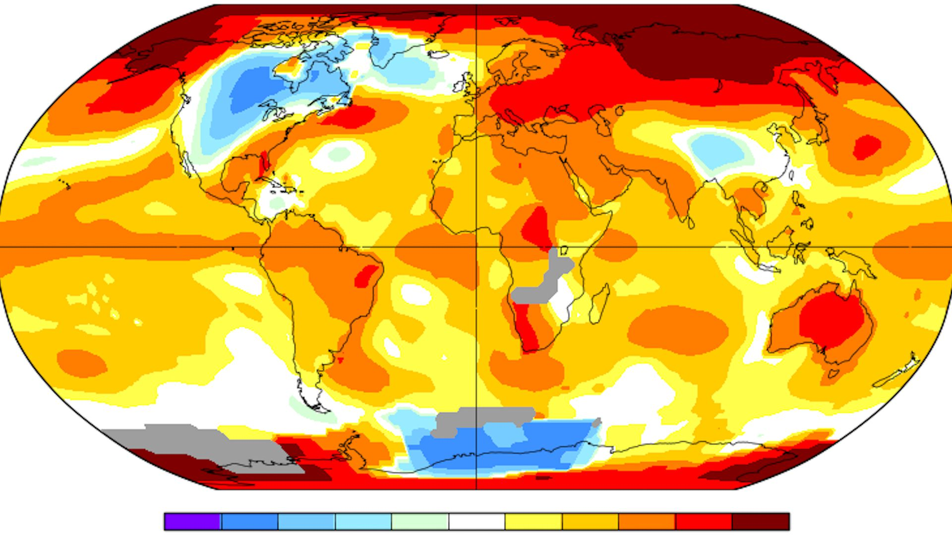 Global average surface temperature anomalies in Oct. 2018 compared to 1951-1980 average.