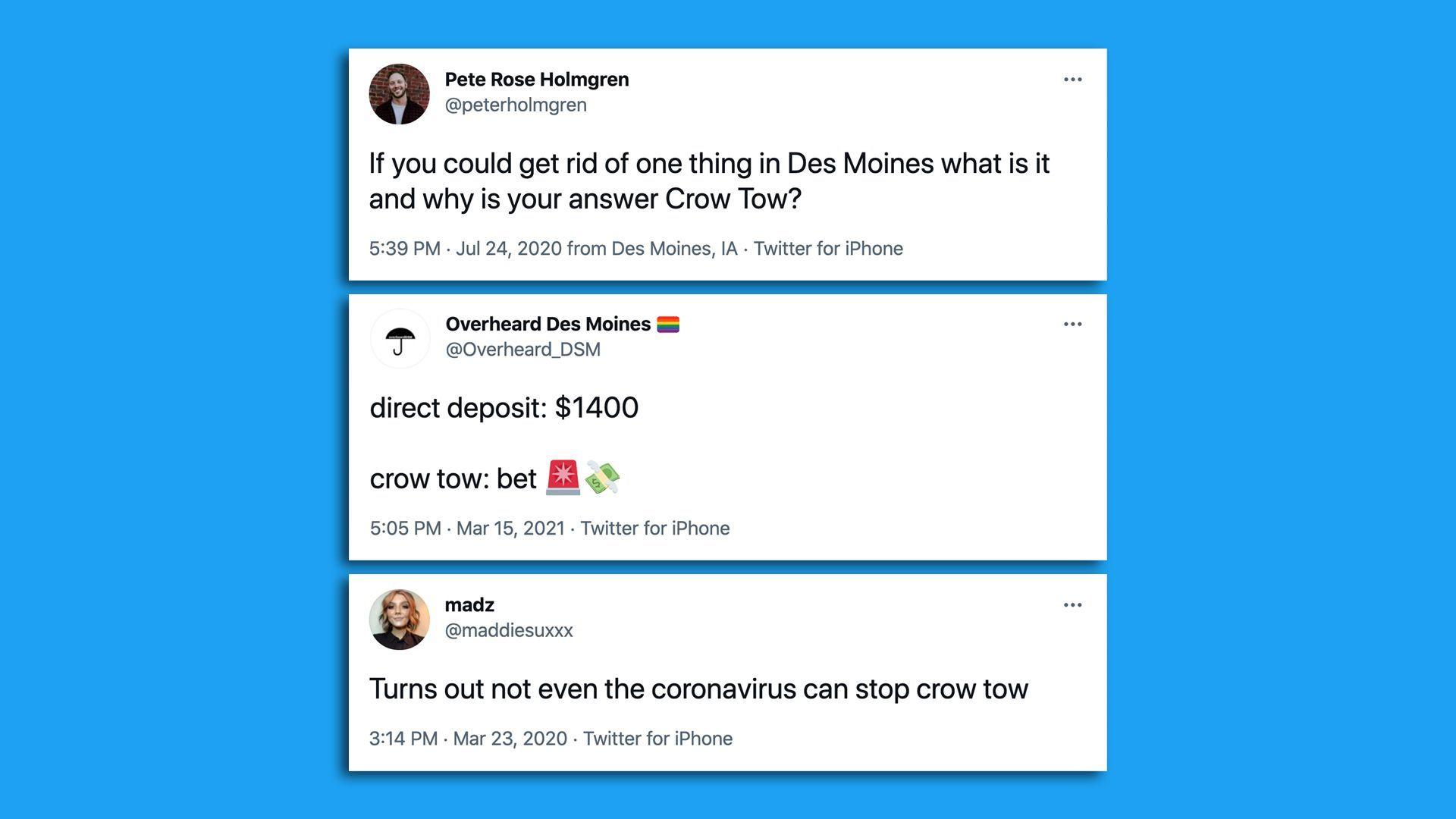 Screenshots of tweets regarding Crow Tow via Twitter.