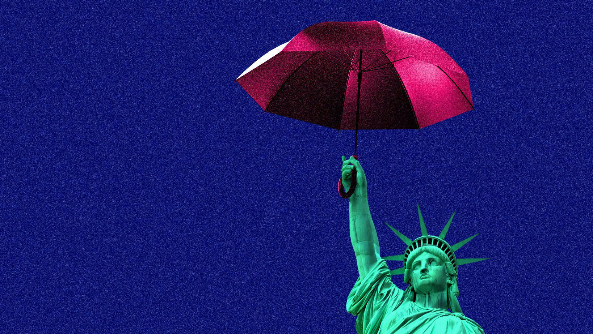 An illustration of the statue of liberty holding an umbrella.