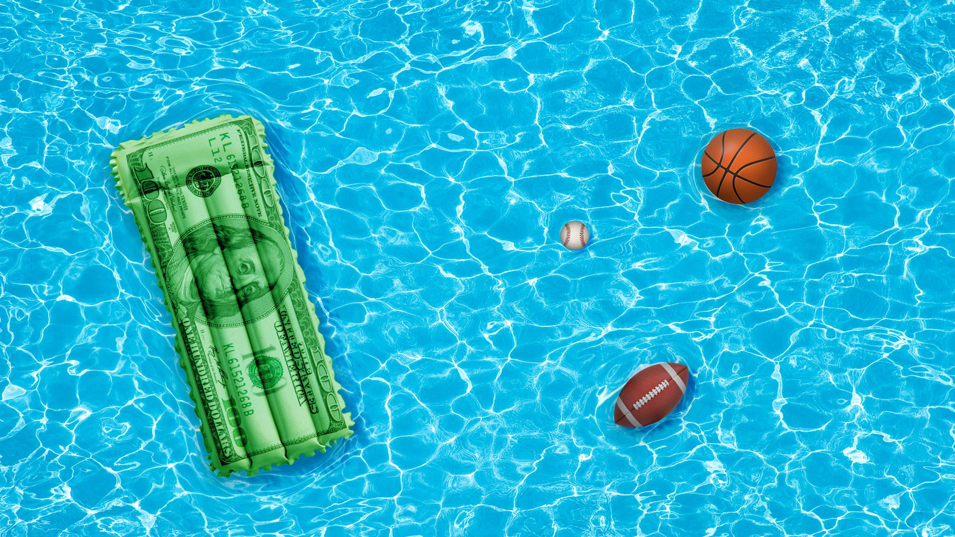Illustration of a pool from above with a blow up pool bed with a printed hundred dollar bill printed across it, in the pool are also a floating basketball and football.