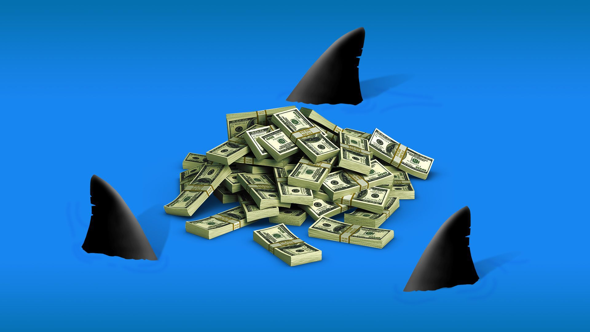 Illustration of sharks circling a pile of money.