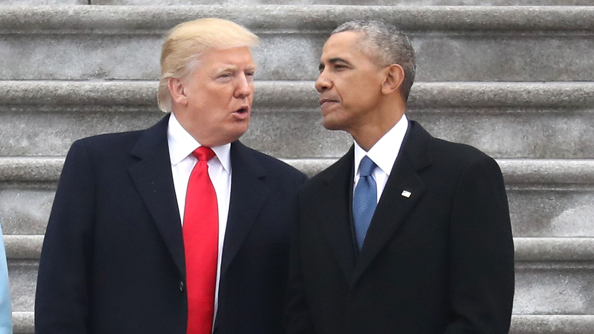 President Donald Trump and former president Barack Obama at the U.S. Capitol on January 20, 2017.