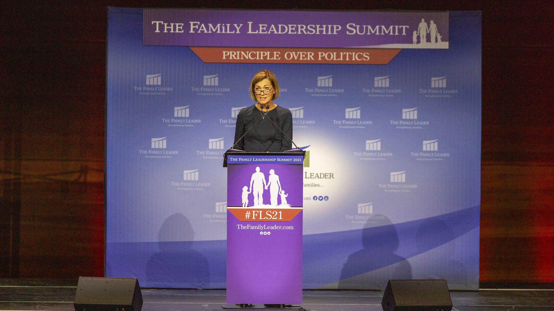 Kim Reynolds speaking at the Family Leadership Institute Summit