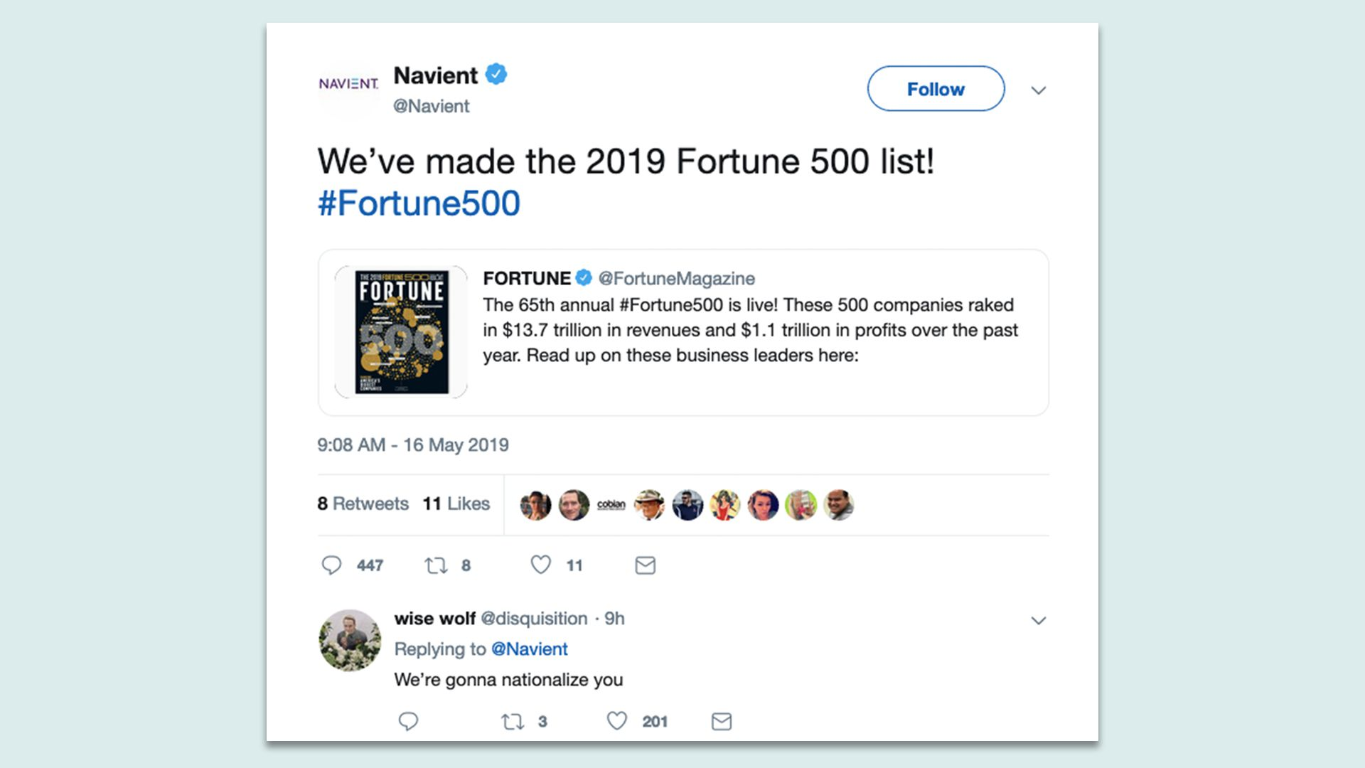 A tweet from Navient's twitter account about its inclusion in the Fortune 500 and a snarky response from a commenter.