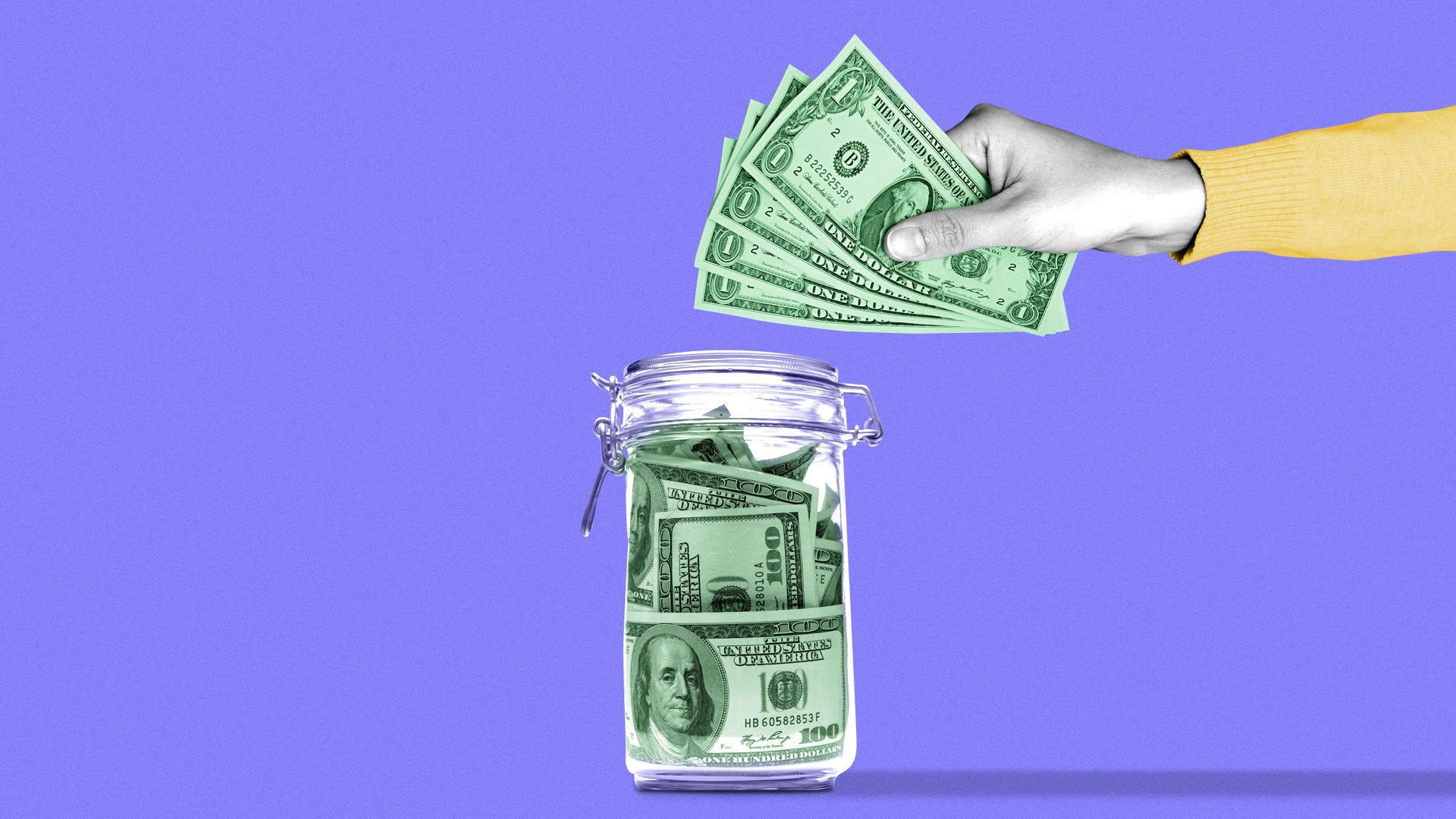 An illustration of a jar having money put into it
