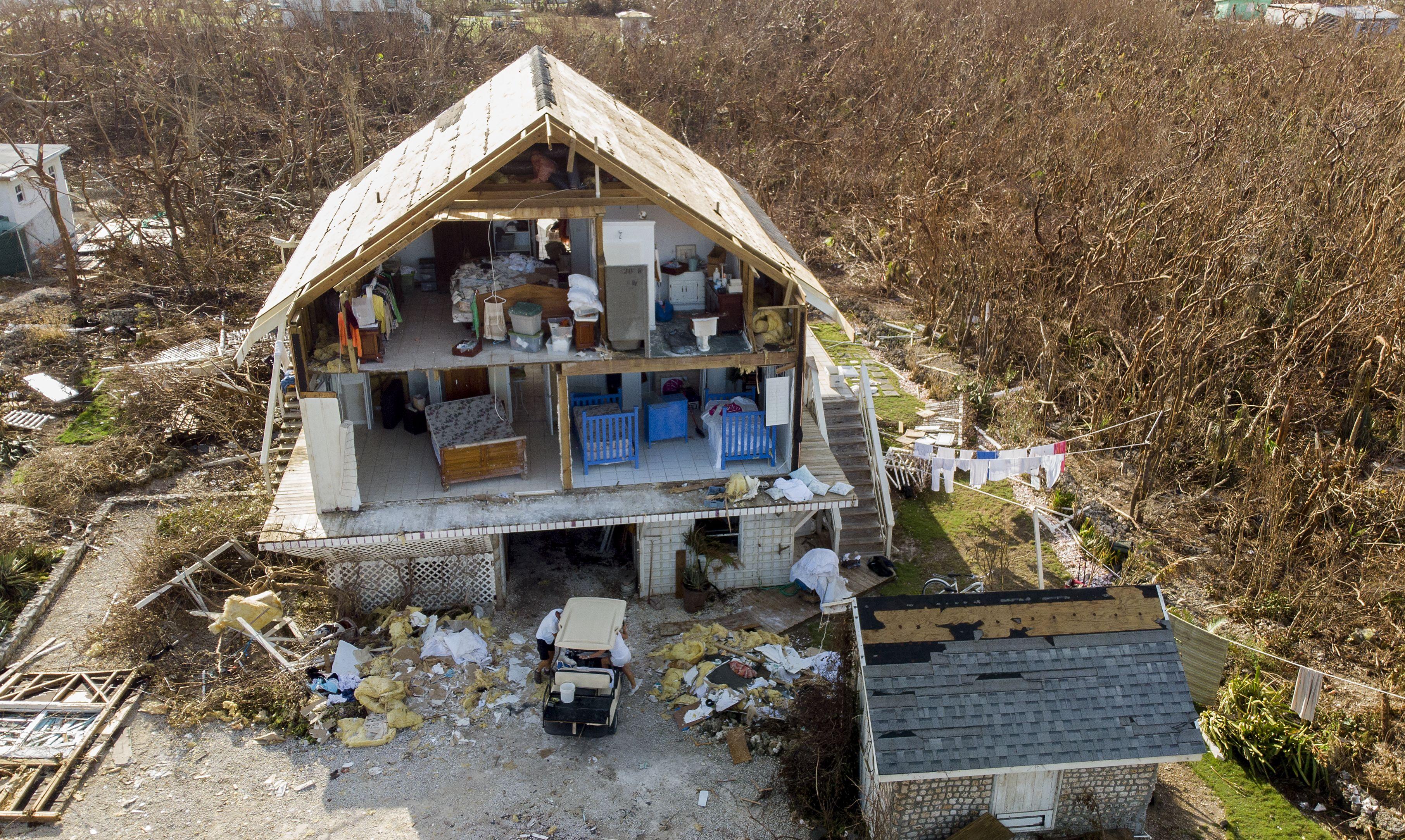 A home damaged after hurricane Dorian devastated Elbow Key Island on September 8