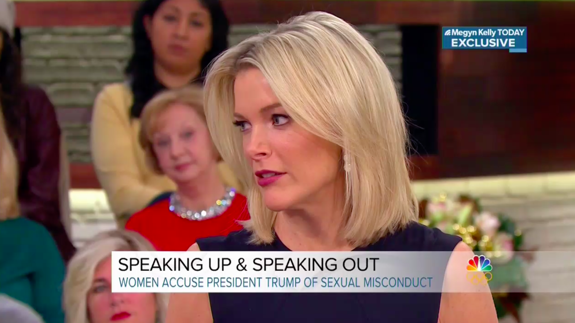 Megyn Kelly looks over her right shoulder.