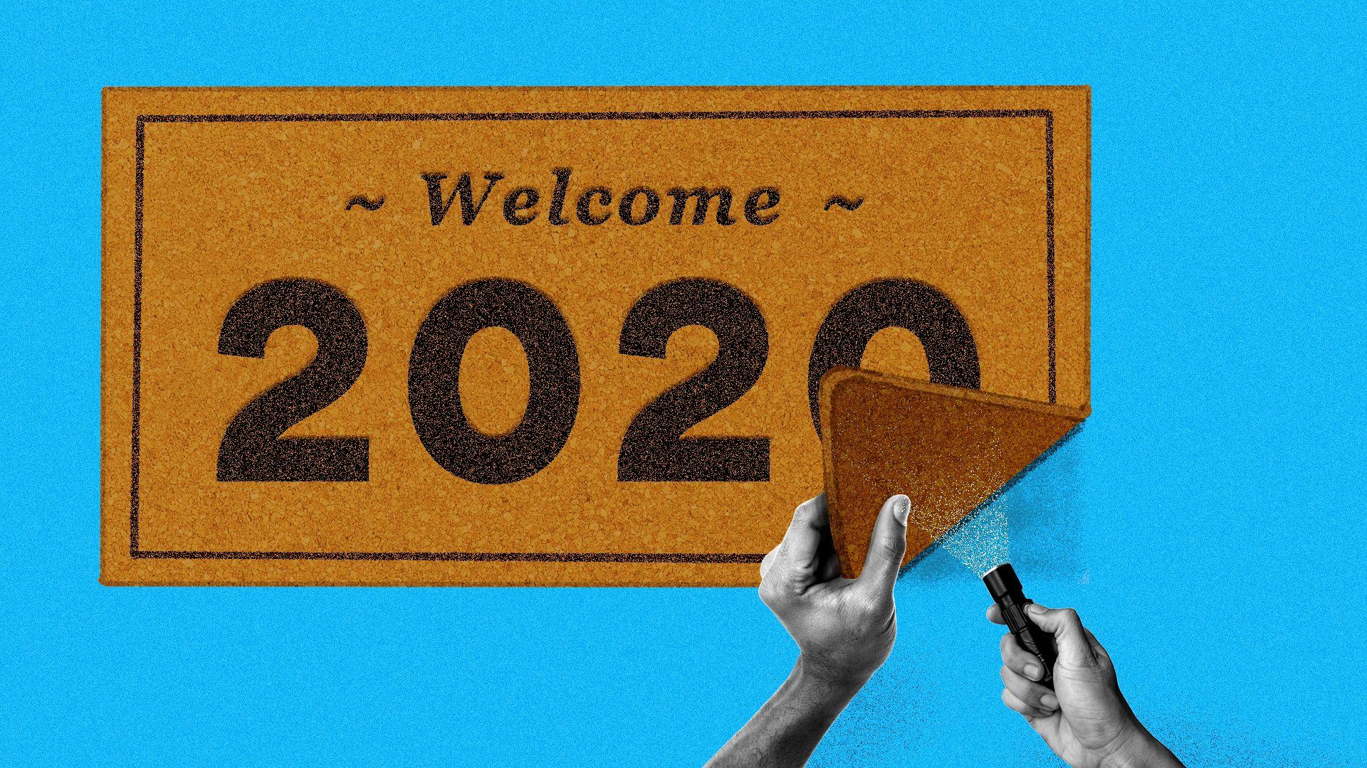A pair of hands peeking under a 2020 welcome rug