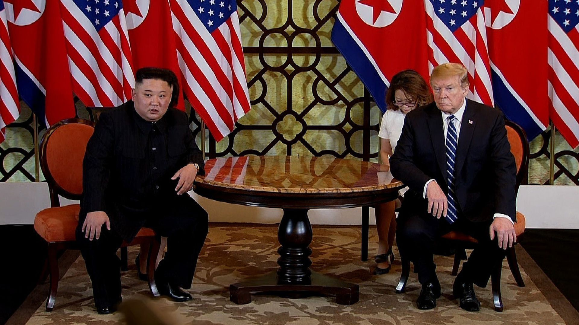 U.S. President Donald Trump (R) and North Korean leader Kim Jong-un (L) during their second summit meeting at the Sofitel Legend Metropole hotel on February 28, 2019 in Hanoi