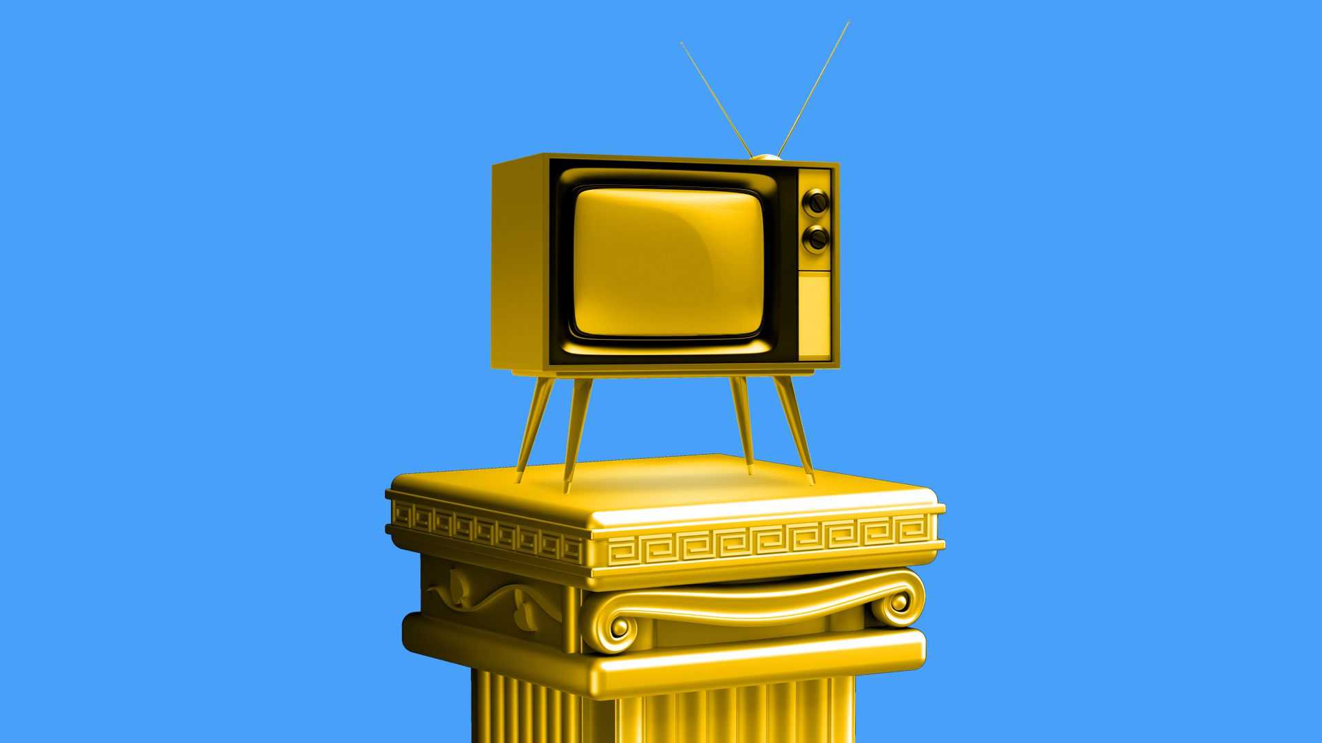 Illustration of golden television on top of pedestal.