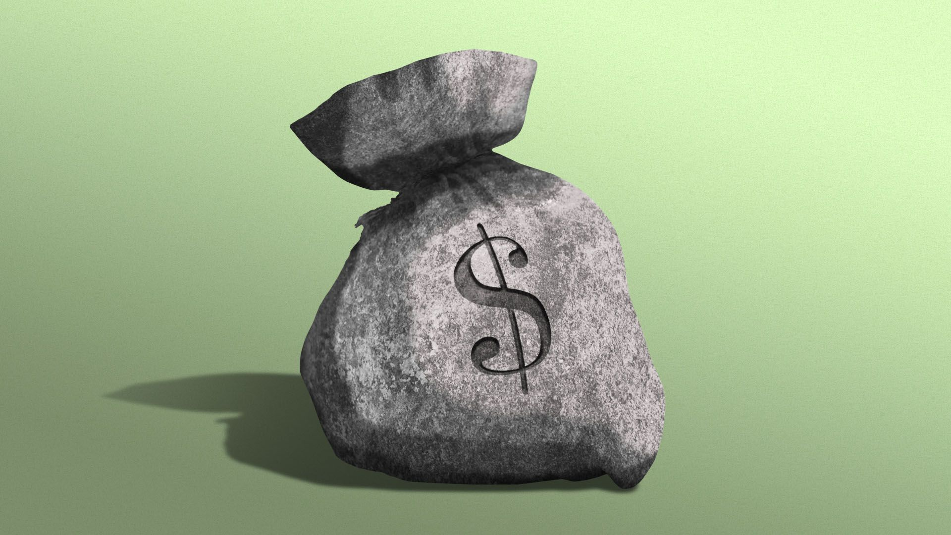 Illustration of a piece of concrete in the shape of a bag of money.