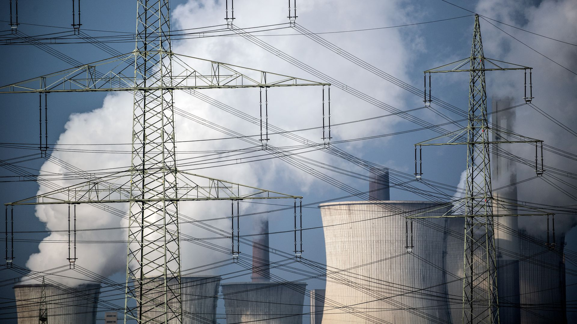 cooling towers of a coal-fired power plant