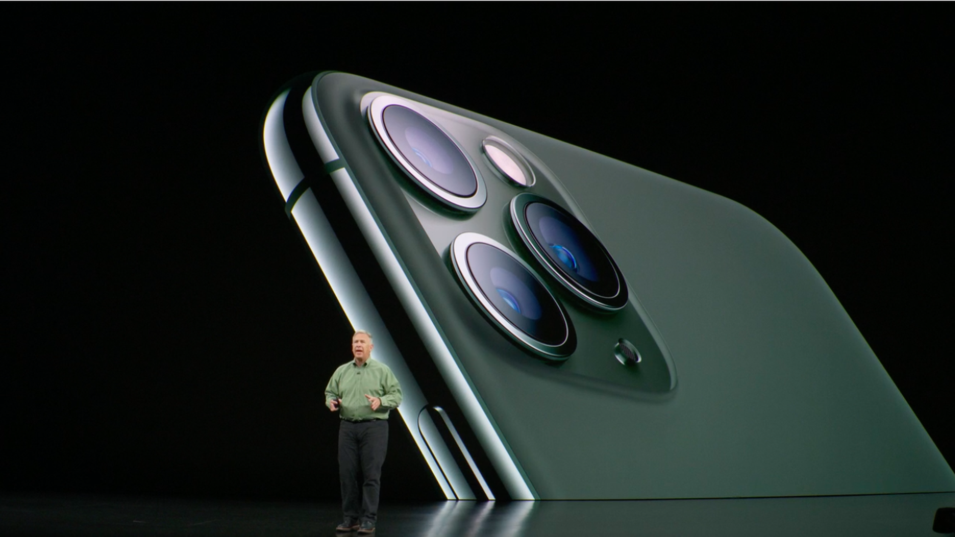Screenshot of Apple Senior VP Phil Schiller introducing iPhone 11 Pro