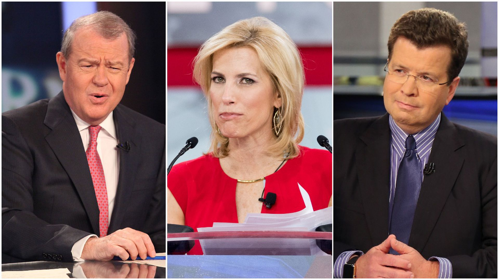 Stuart Varney, Laura Ingraham and Neil Cavuto all wear quizzical faces