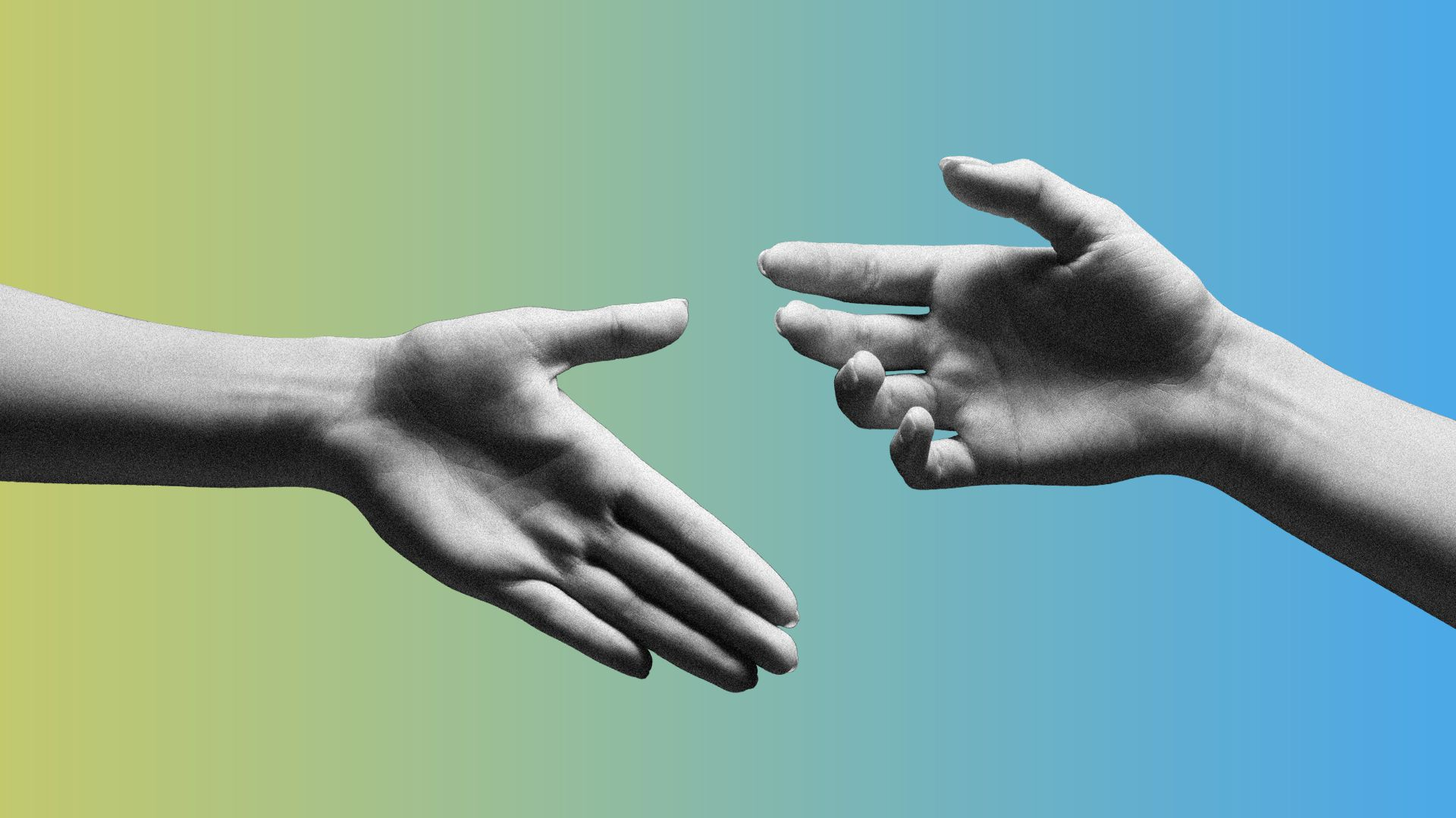 Illustration of two hands reaching out but not completing a handshake