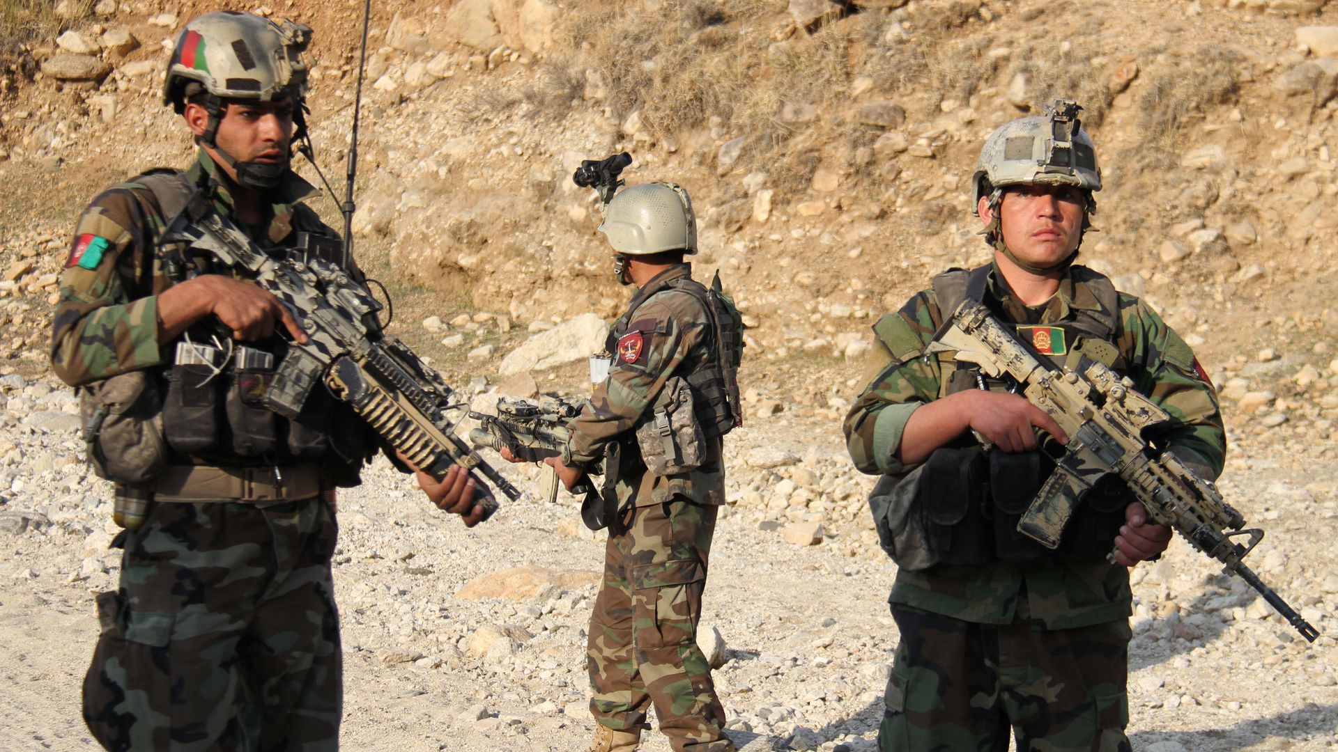 Afghan commandos forces take part in an operations against the Taliban.