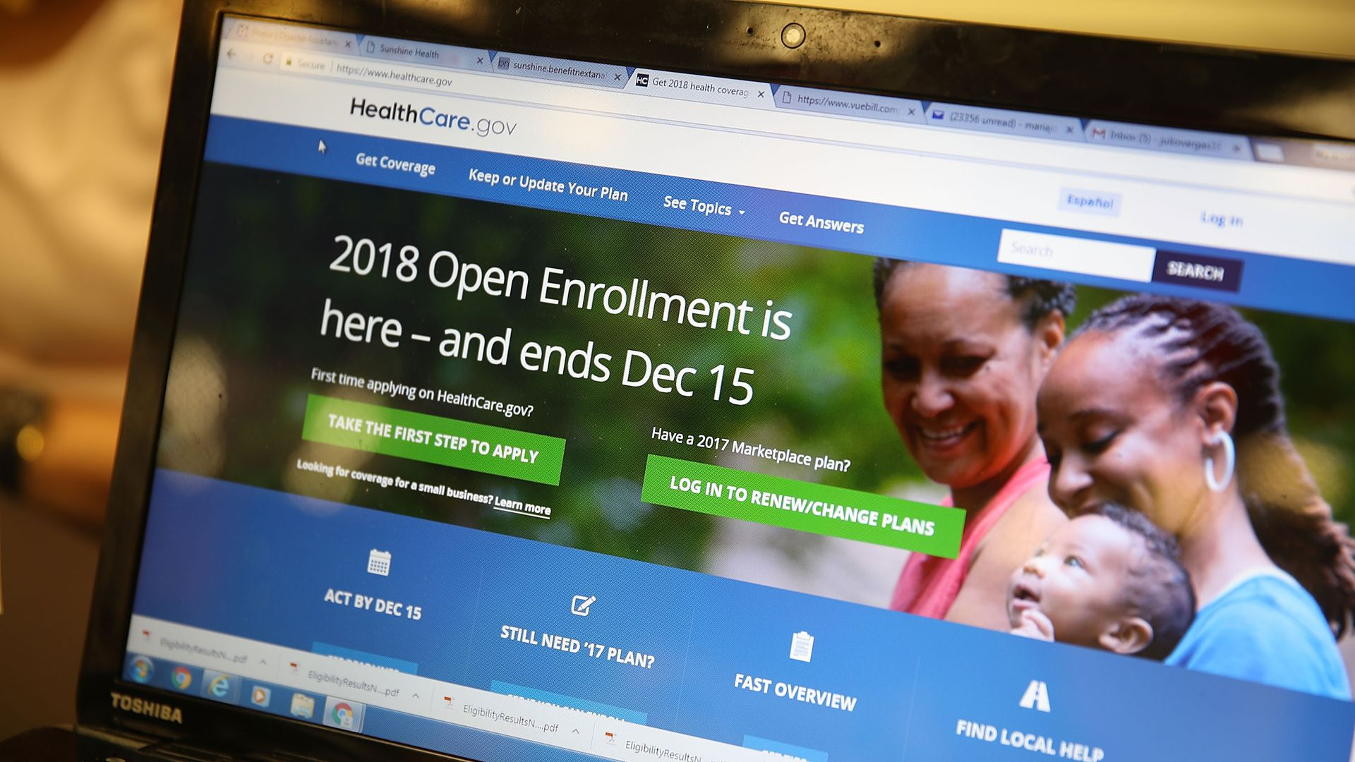 A laptop open to HealthCare.gov