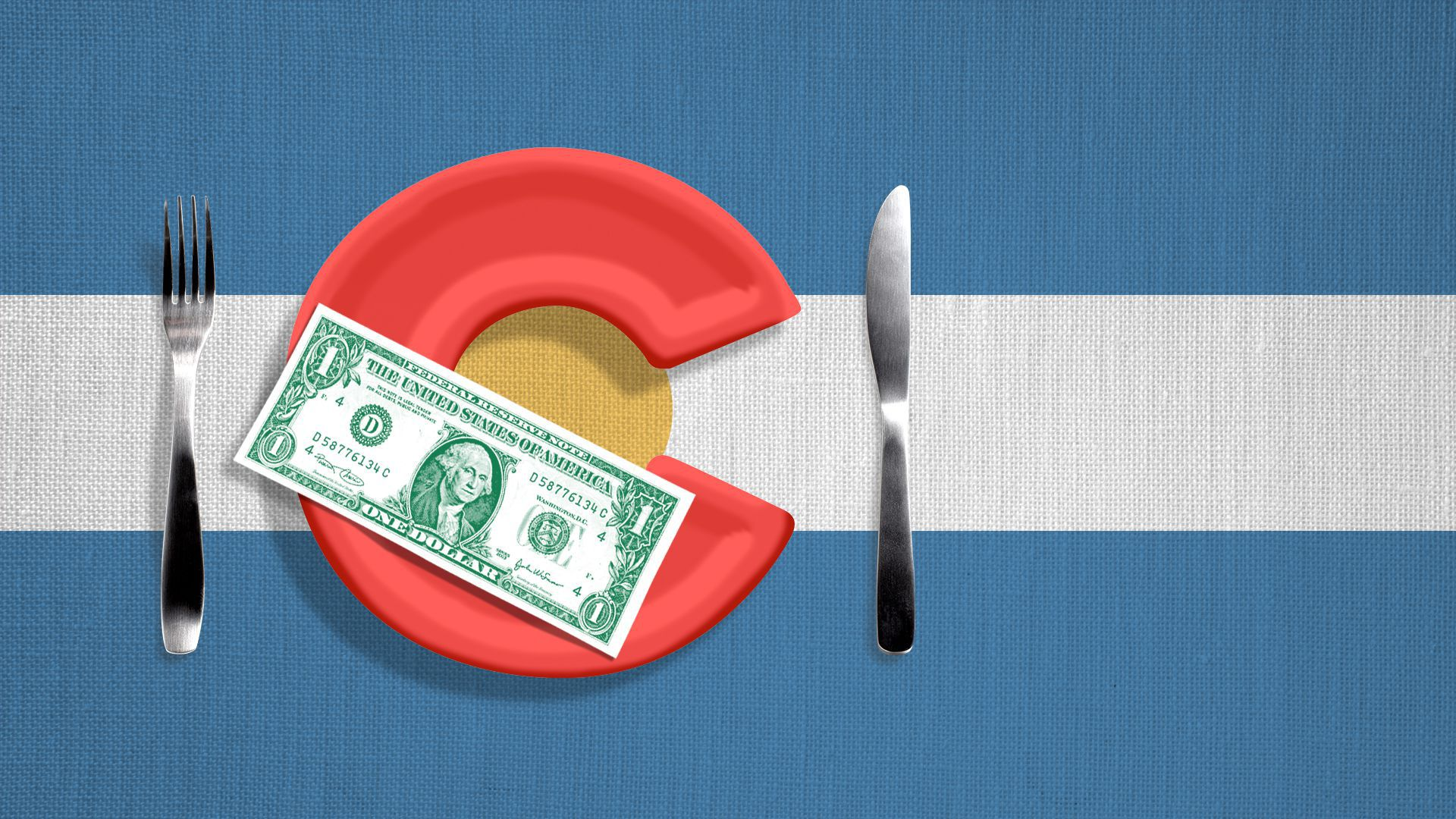 Illustration of the Colorado flag, with a plate for a C, a knife and fork alongside it, and a dollar on the plate.