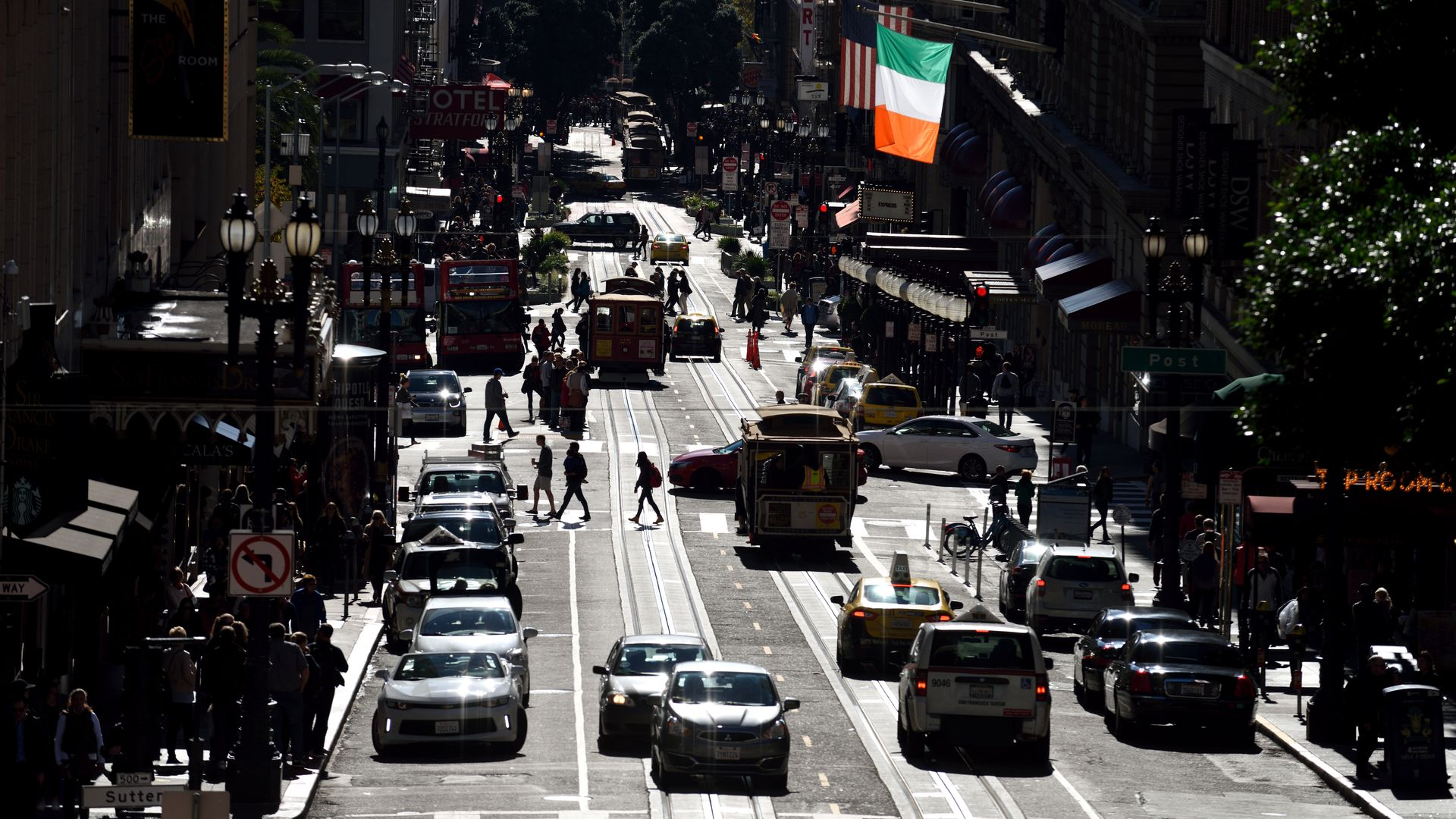 downtown San Francisco street with car, bus and streetcar traffic