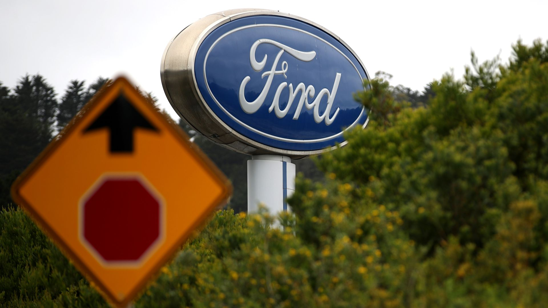 The Ford logo on a sign