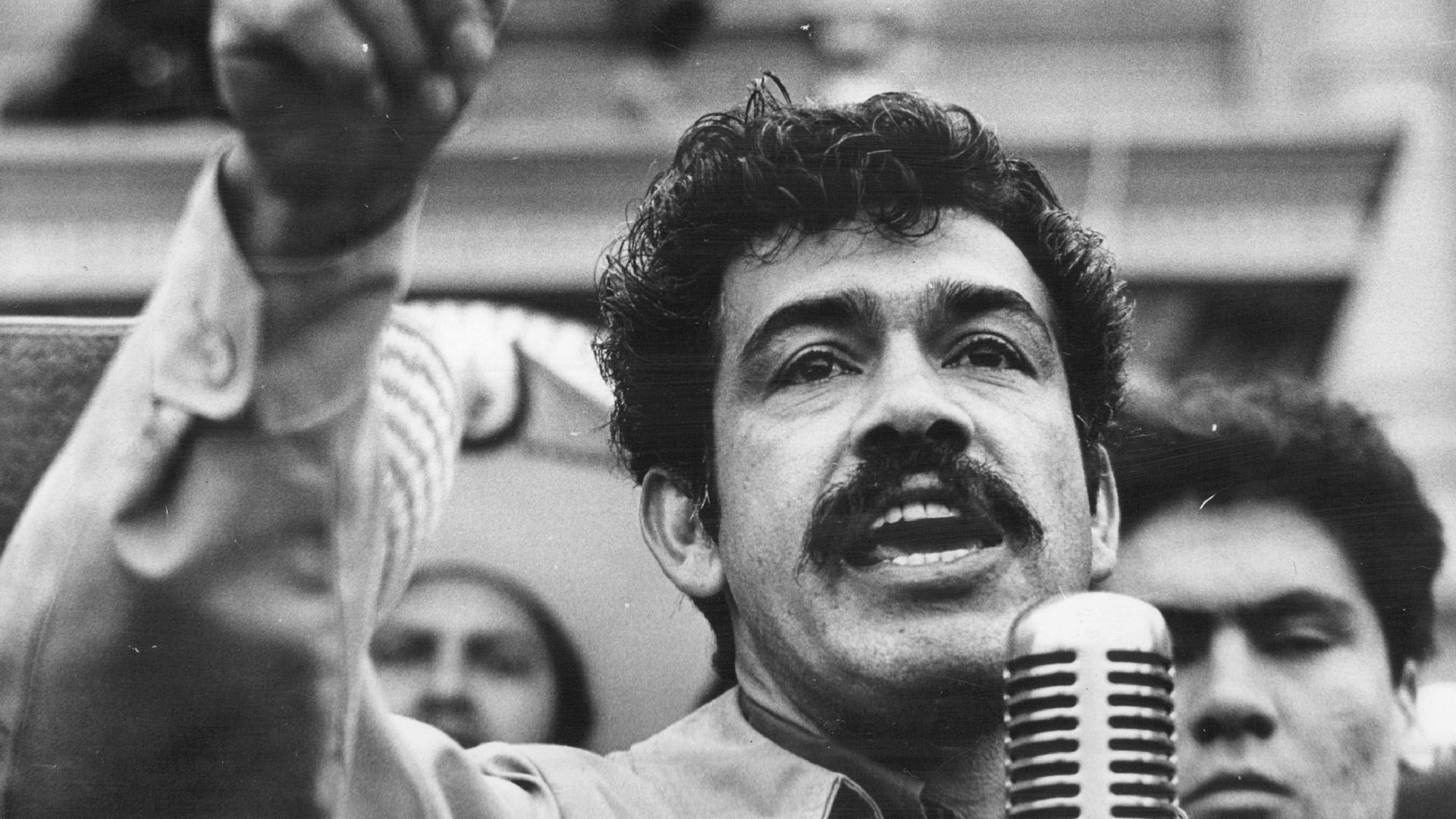 A photo of Corky Gonzales at a rally in Denver in 1971.