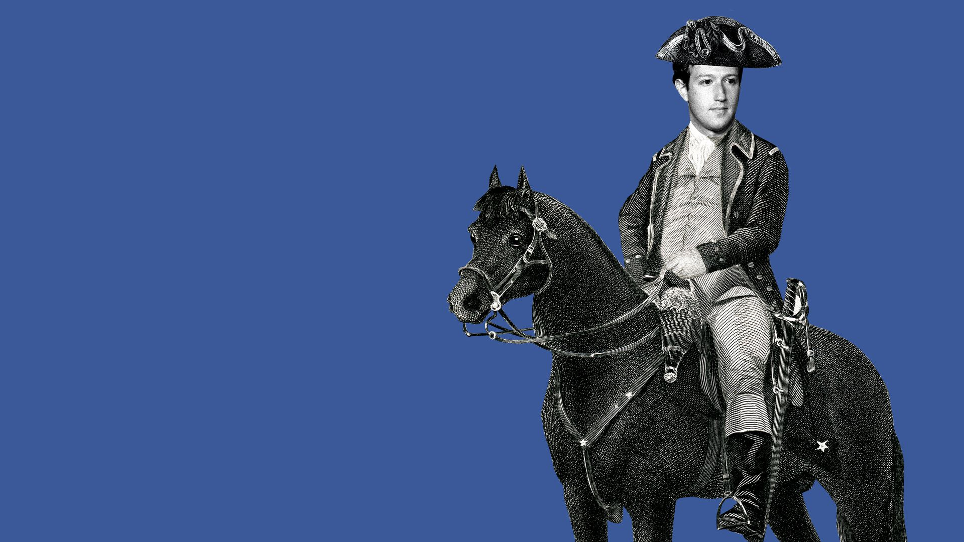 Illustration of Mark Zuckerberg on a horse with tricorn hat