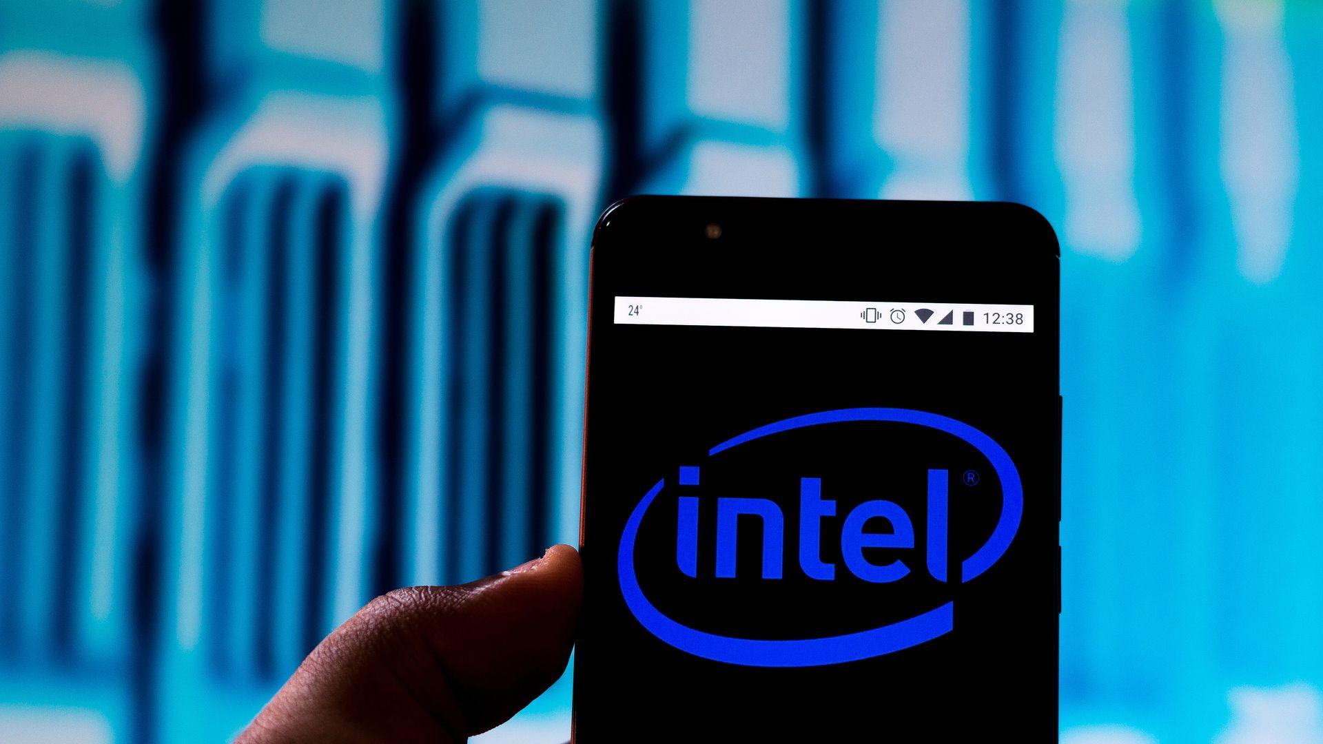 Intel logo on a cellphone