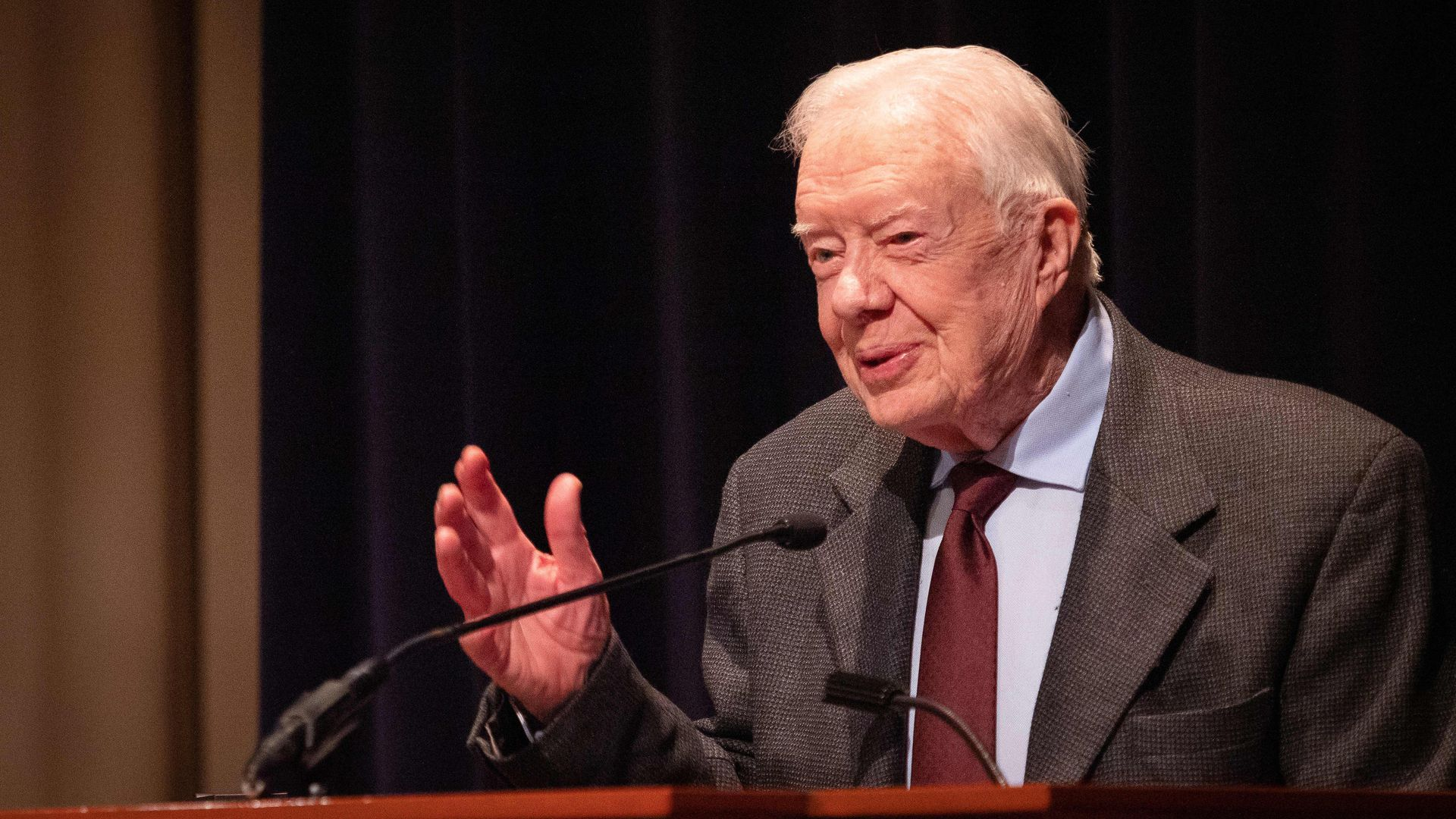 Former U.S. President Jimmy Carter speaks during the symposium commemorating the 40th anniversary of the normalization of US-China relations at the Carter Center on January 18